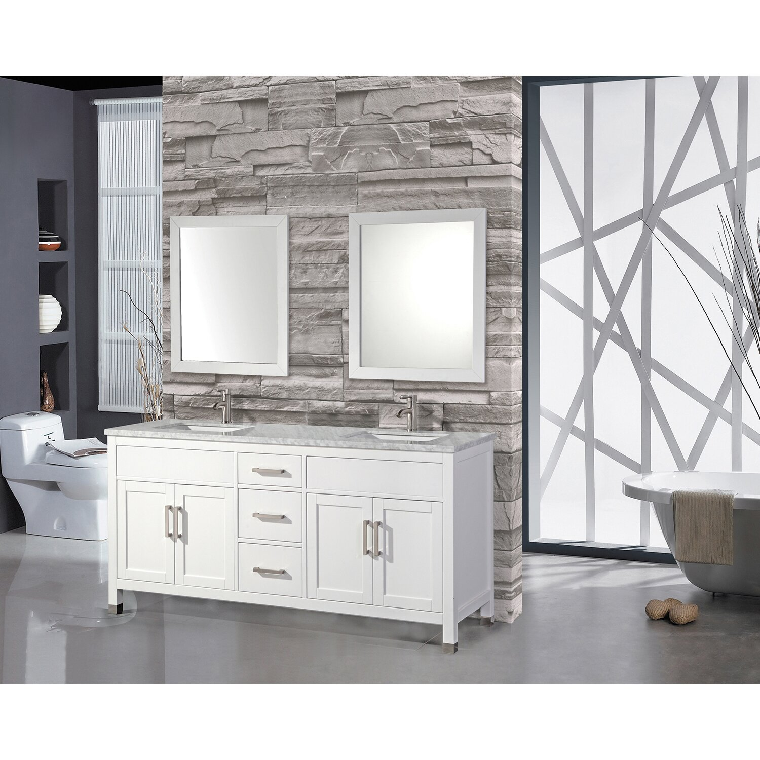 "mtdvanities ricca 84"" double sink bathroom vanity set with mirror"