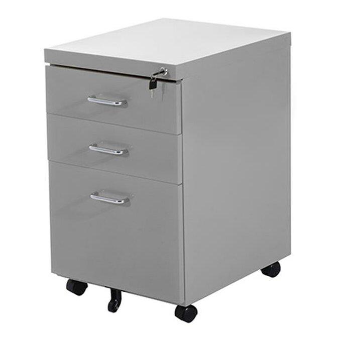 Homcom 3 Drawer Mobile Lockable Metal Filing Cabinet ...