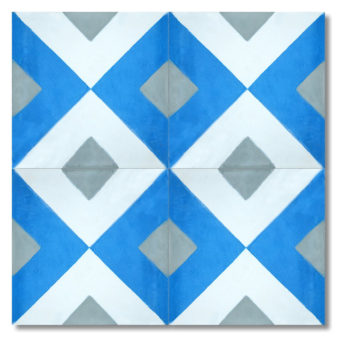 Moroccan mosaic tile house jadida 8 x 8 handmade cement for Blue and white cement tile