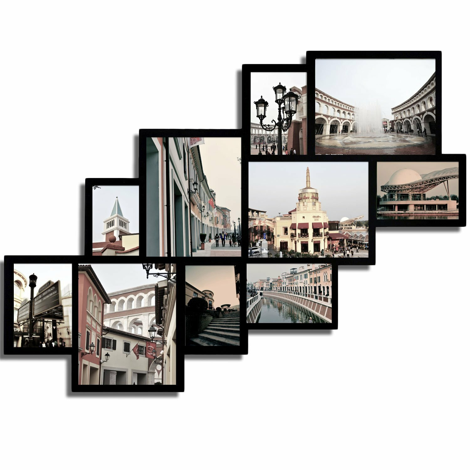 adeco trading 10 opening wood photo collage wall hanging picture frame
