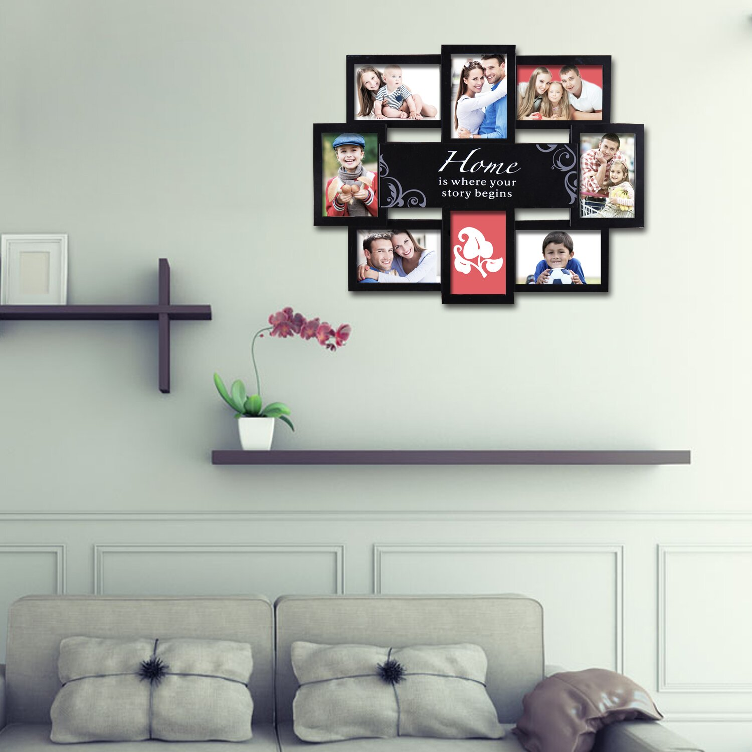 adeco trading 8 opening plastic home is where your story begins photo collage wall hanging picture