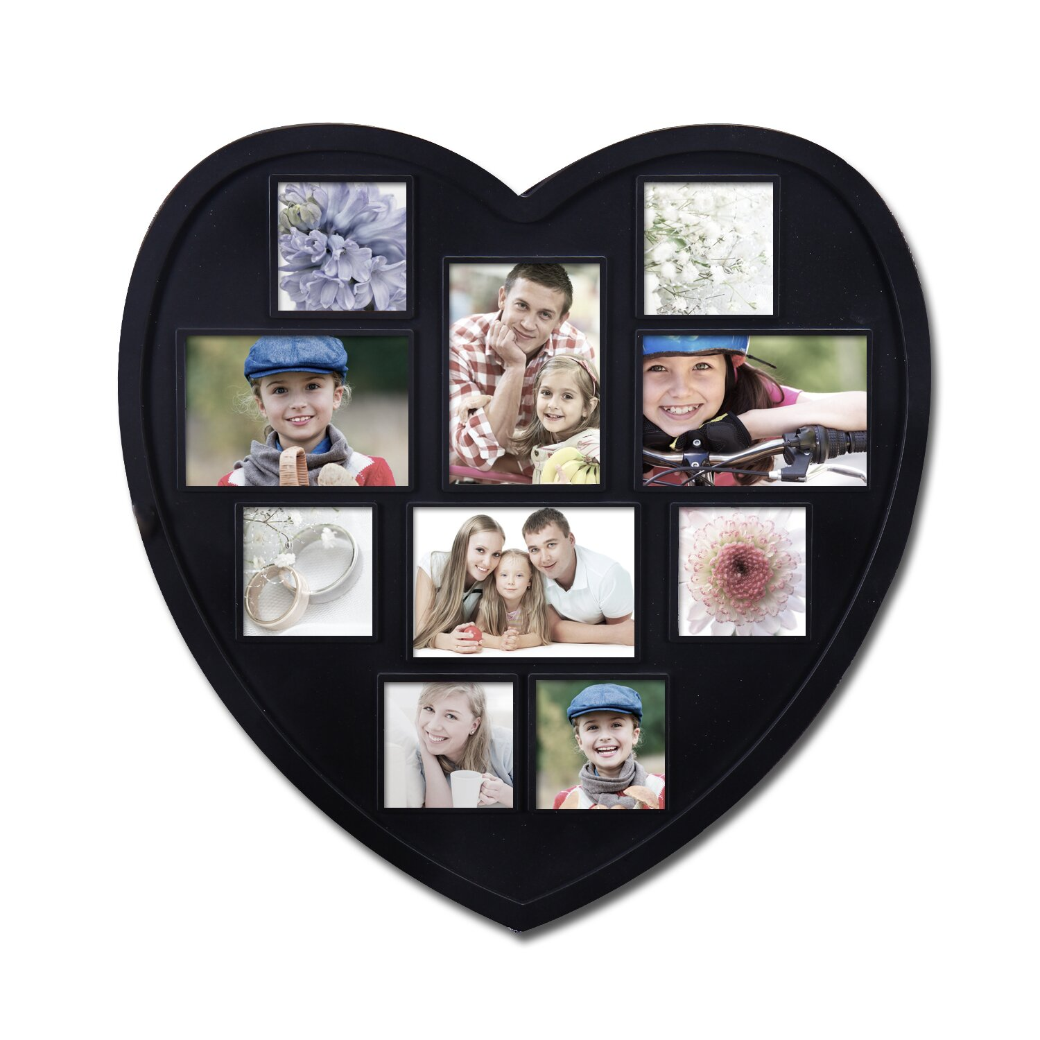adeco trading 10 opening decorative heart shaped wall hanging picture frame