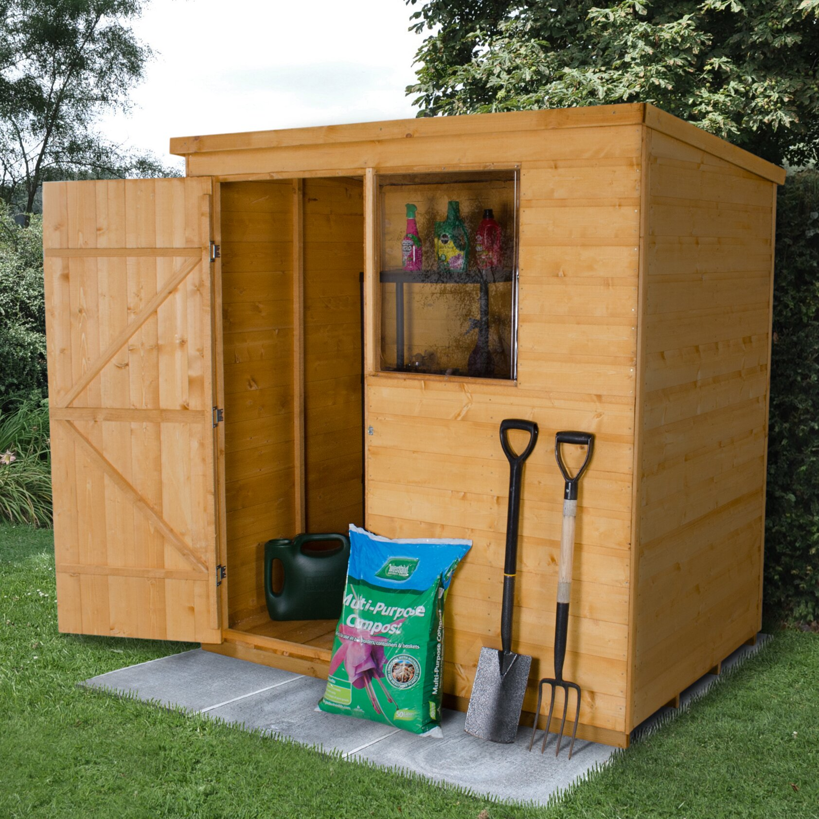 forest garden 4 ft w x 6 ft d wooden storage shed. Black Bedroom Furniture Sets. Home Design Ideas
