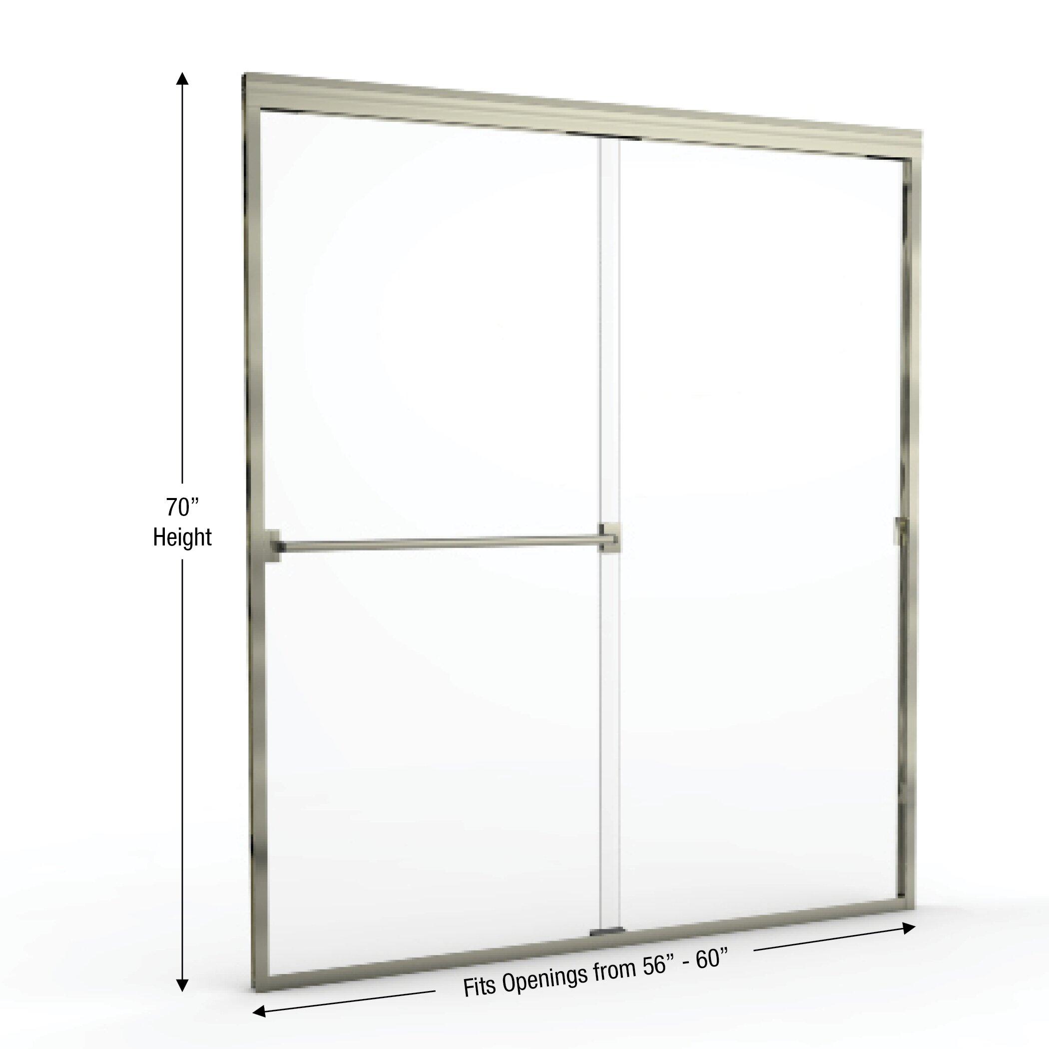 basco classic 70 quot x 60 quot frameless bypass sliding shower door