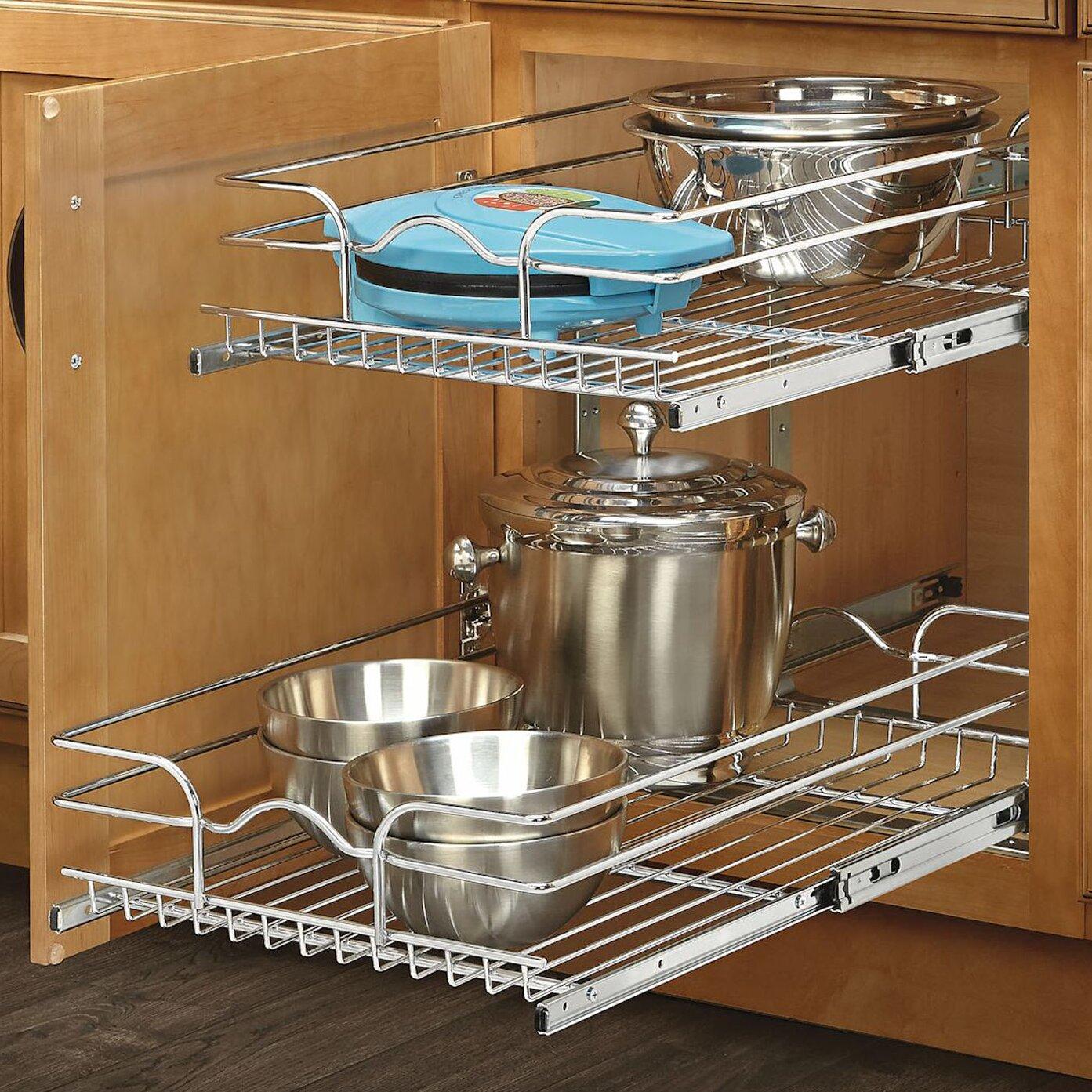 "Rev A Shelf 2 Tier Pull Out Base Cabinet Basket Drawer: Rev-A-Shelf 15"" X 22"" 2 Tier Wire Basket Cabinet Organizer"