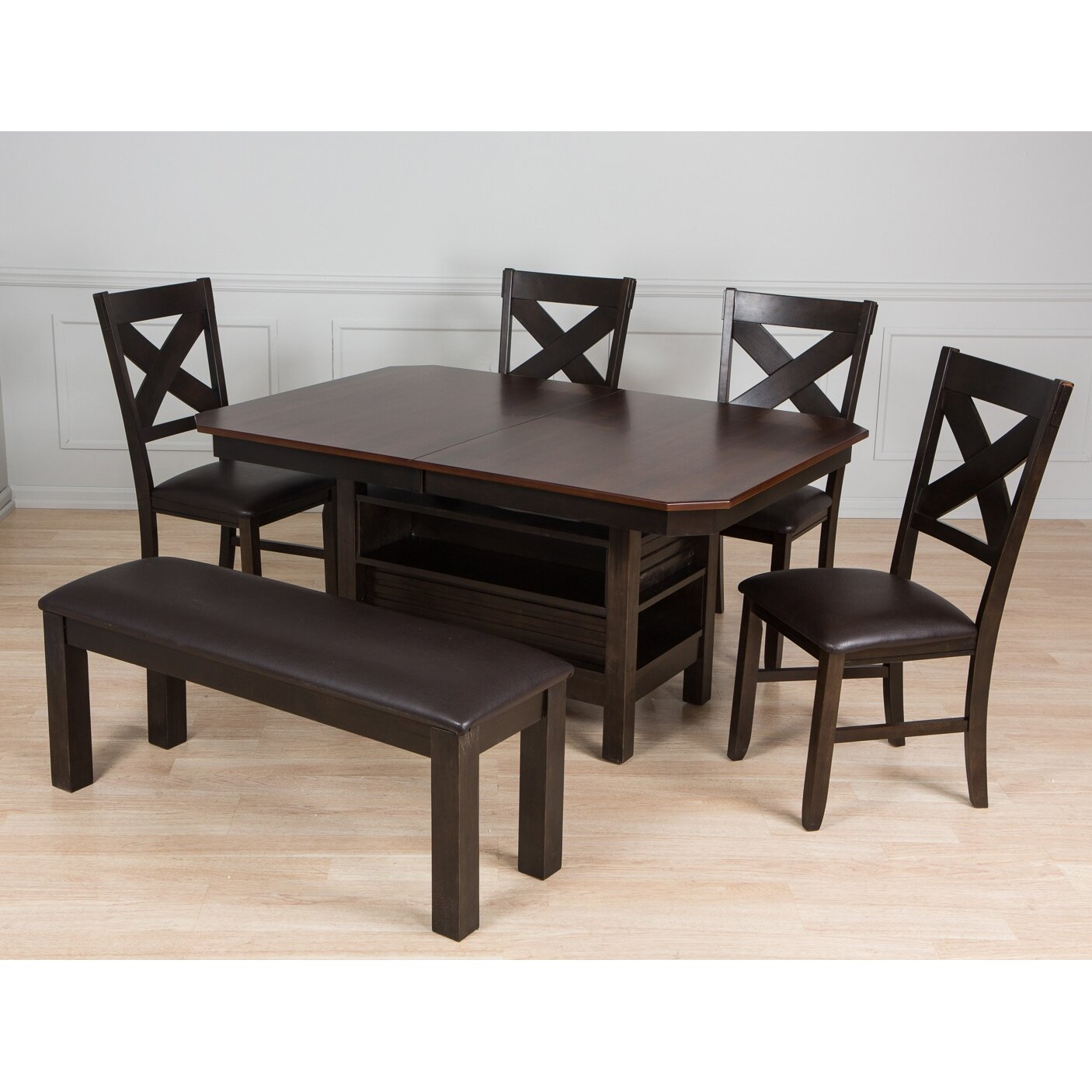Aw furniture 6 piece dining set for 2 piece dining room set
