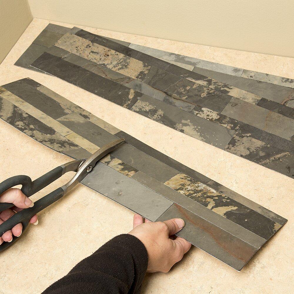 aspect 6 x 24 natural stone peel stick mosaic tile in medley slate wayfair. Black Bedroom Furniture Sets. Home Design Ideas