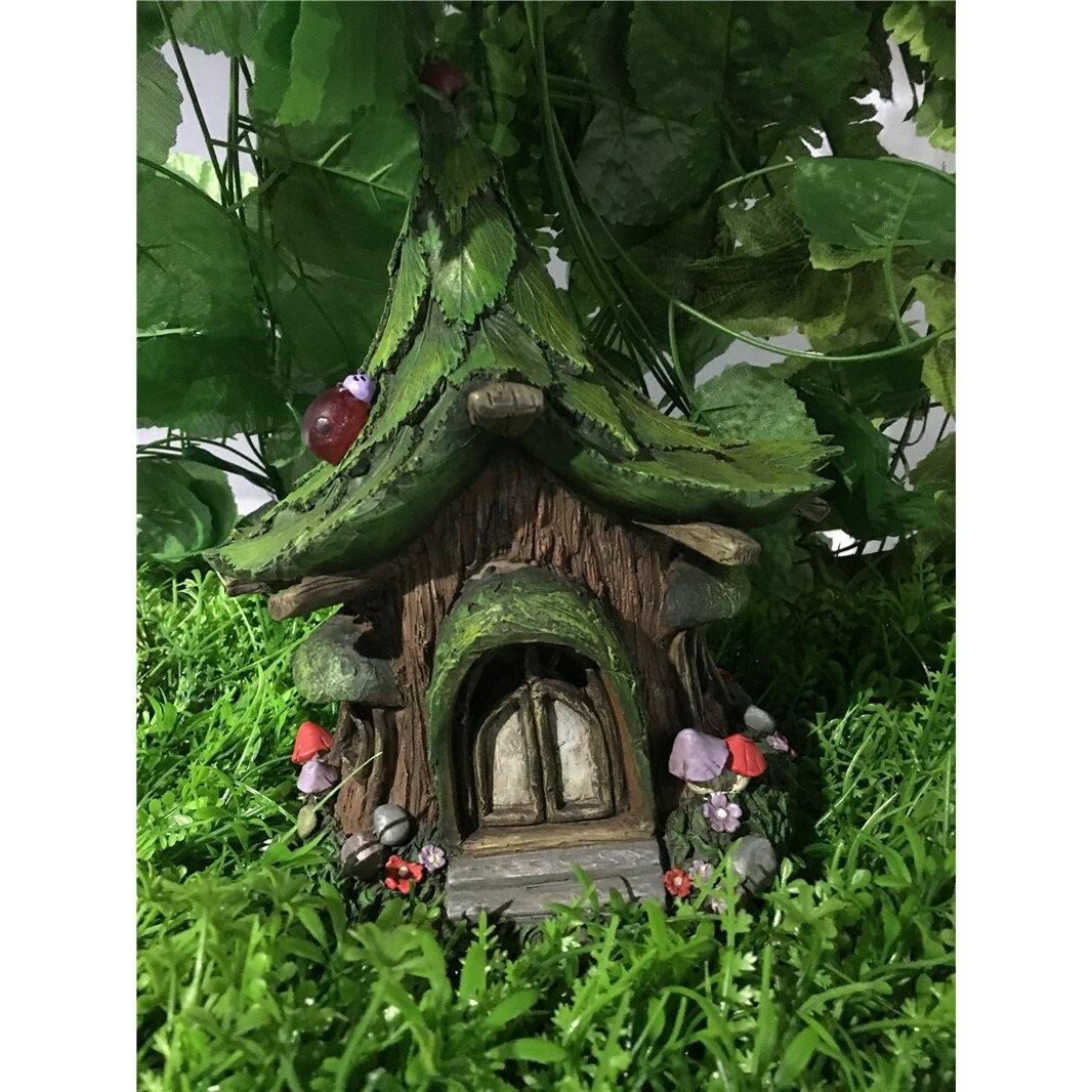 Fairy Garden Statue: Hi-Line Gift Ltd. Fairy Garden House With Leaf Roof And