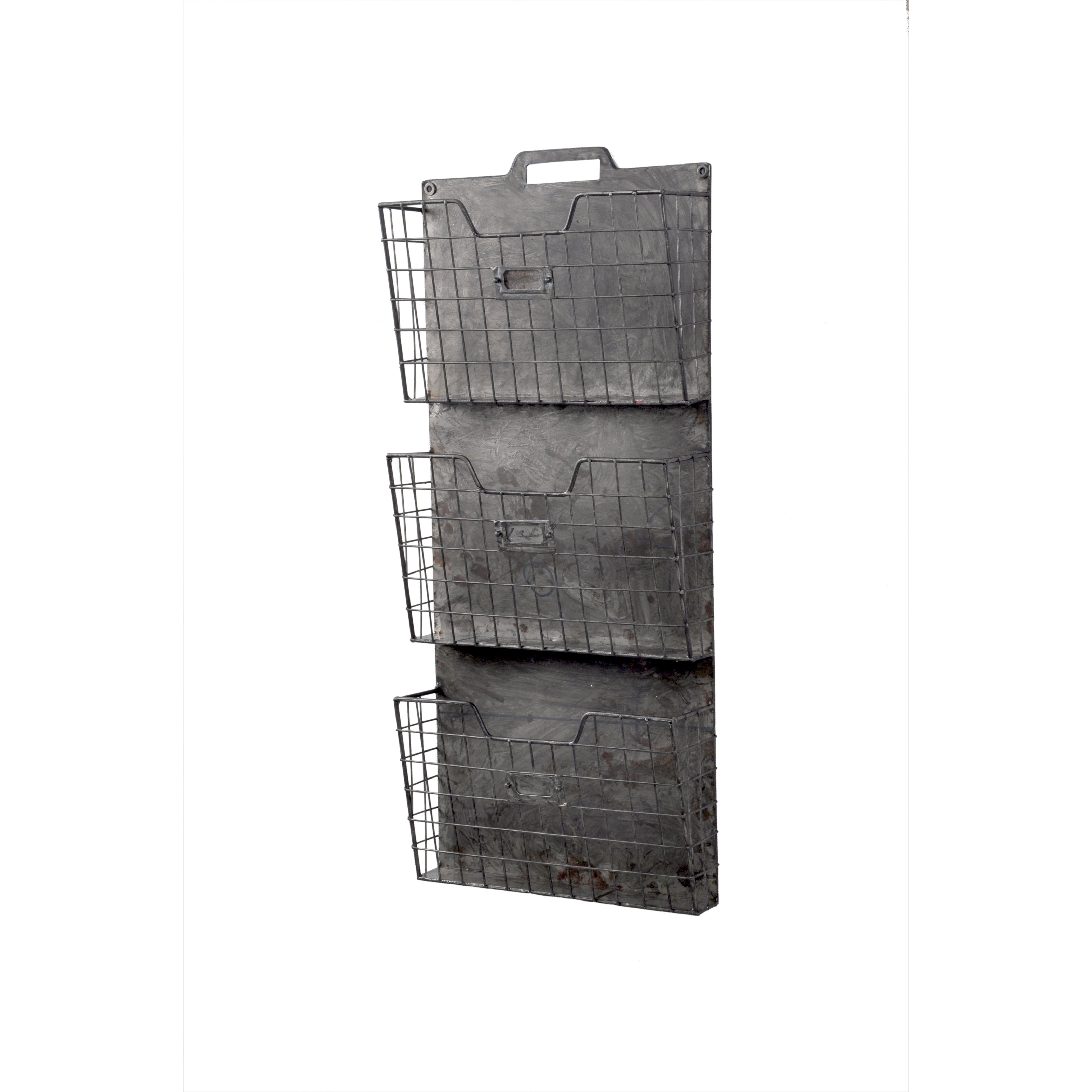 american mercantile wall mount galvanized metal triple file holder reviews. Black Bedroom Furniture Sets. Home Design Ideas