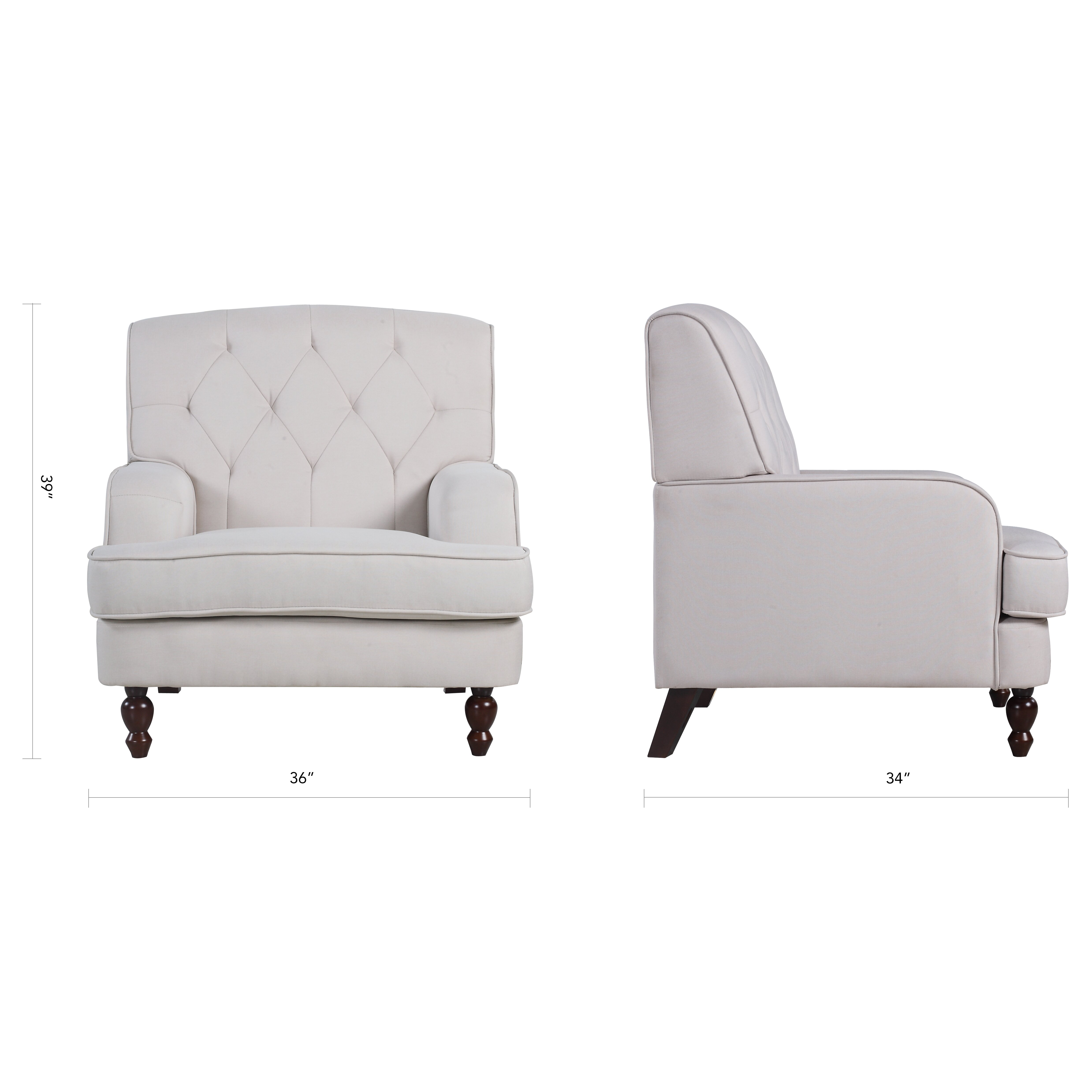 Living Room Arm Chairs Madison Home Usa Modern Tufted Fabric Living Room Arm Chair