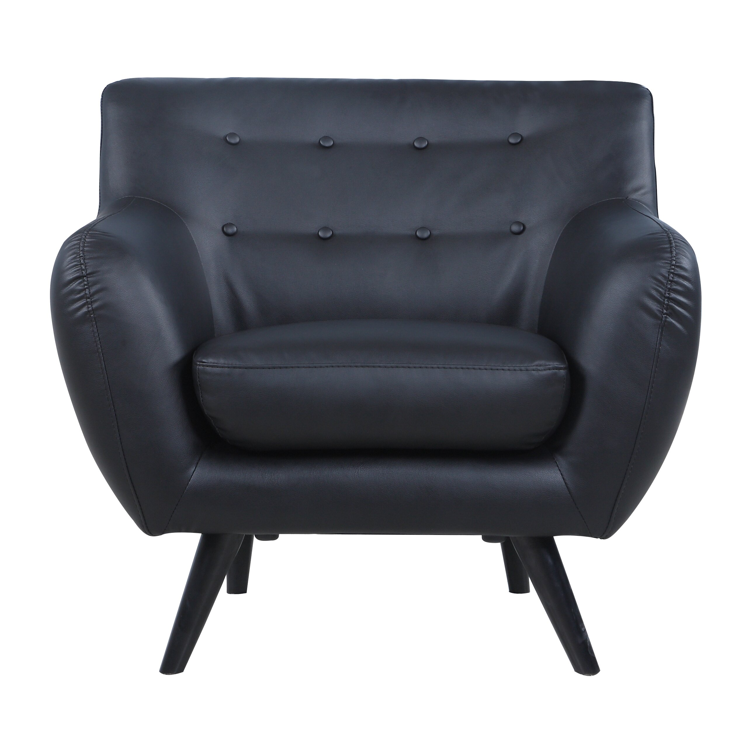Madison Home USA Mid Century Modern Tufted Bonded Leather