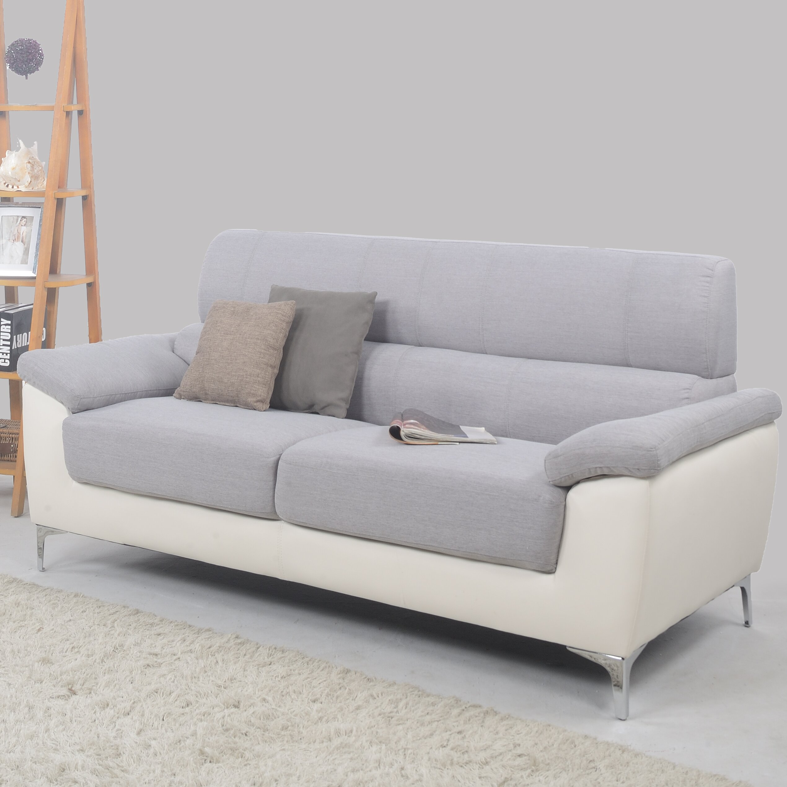 Two Tone Living Room Furniture Madison Home Usa Modern Two Tone Fabric And Bonded Leather Living