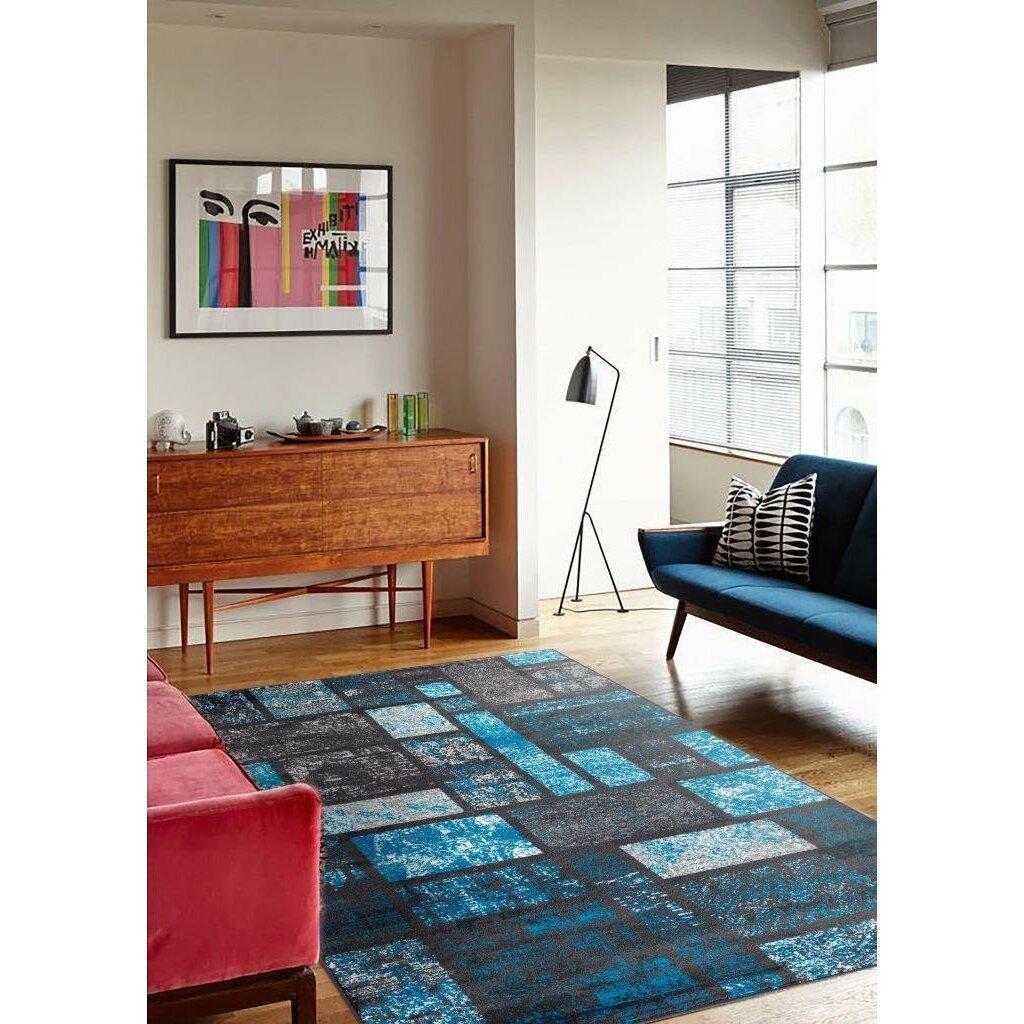 Persian Rugs Tobis Modern Turquoise Area Rug Reviews