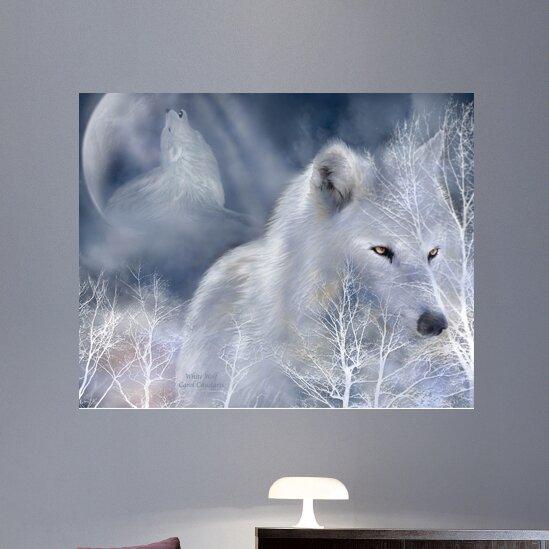 wallhogs cavalaris white wolf wall mural reviews wayfair