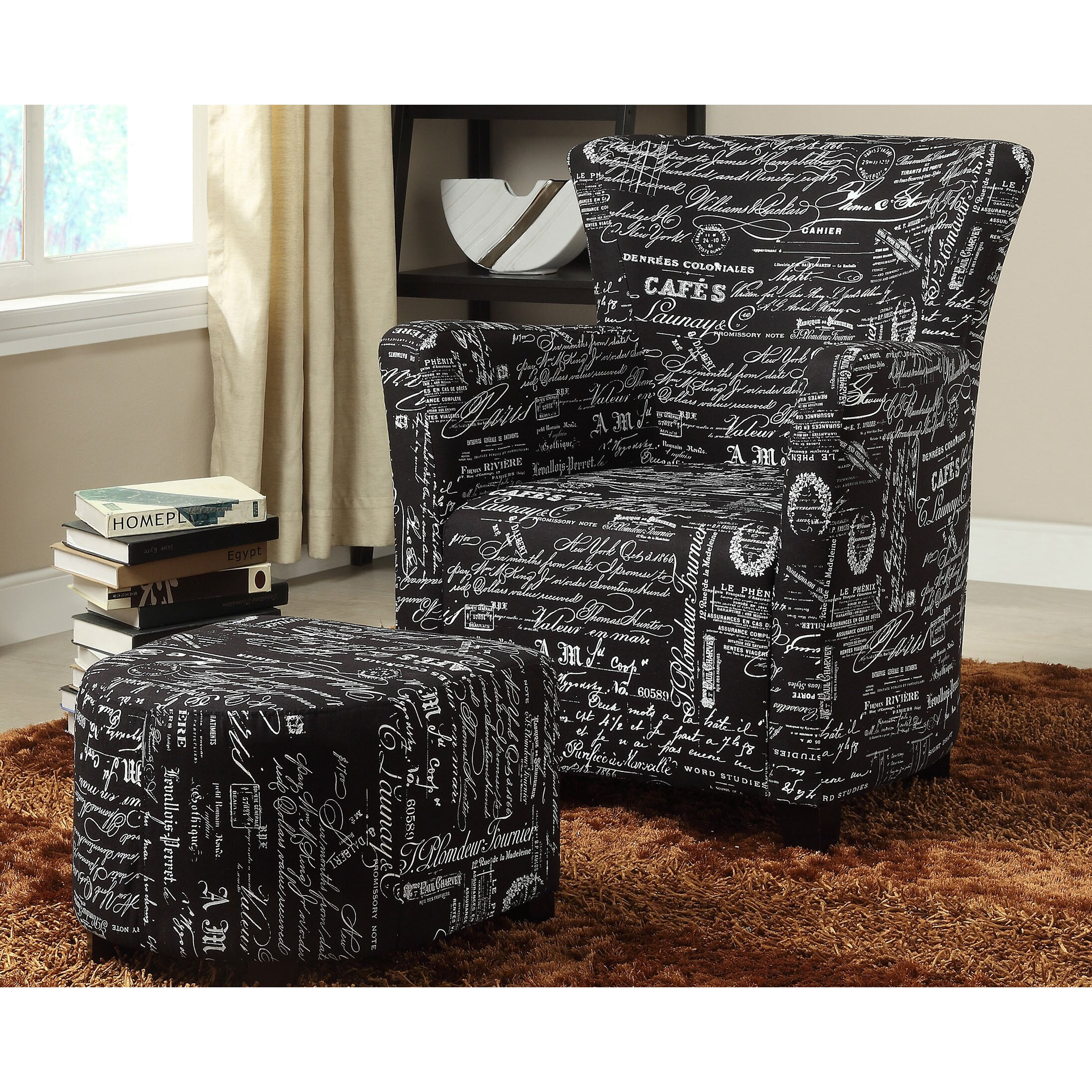 WorldWide HomeFurnishings Fabric Club Chair Ottoman Set. Chair And Ottoman Sets  Genuine leather lounge font b chairs b