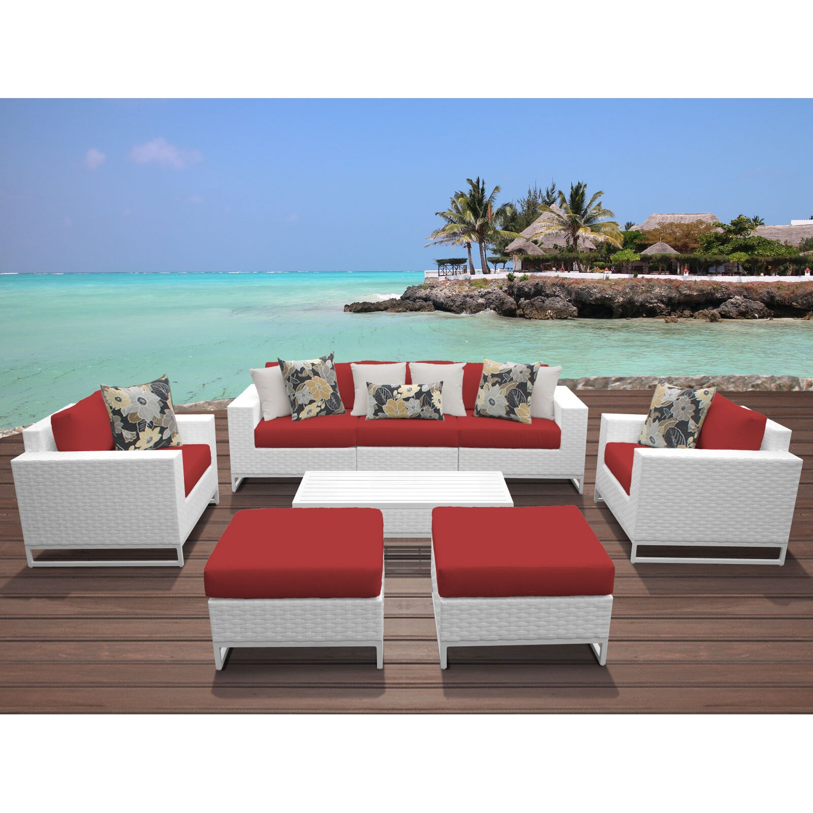 Tk Classics Miami 8 Piece Deep Seating Group With Cushions