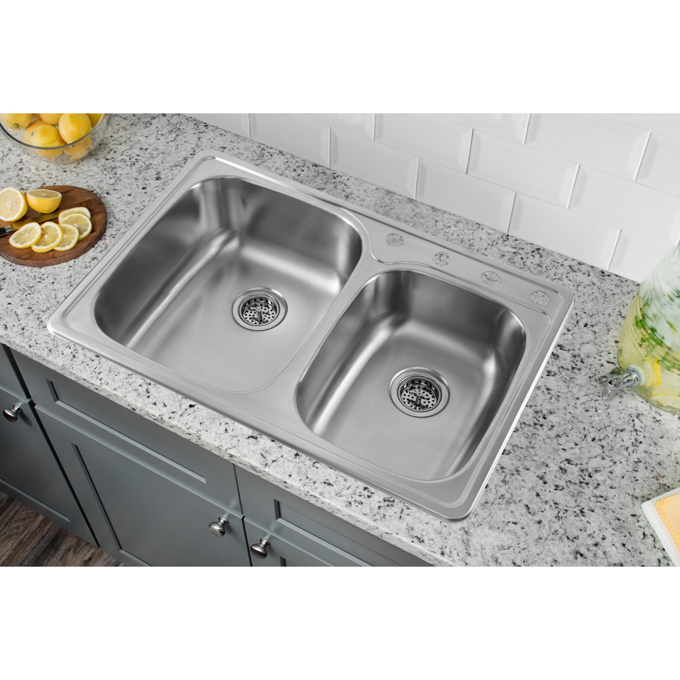 Soleil 33 quot  x 22 quot  Stainless Steel Drop In Double Bowl Kitchen Sink. Soleil 33  x 22  Stainless Steel Drop In Double Bowl Kitchen Sink