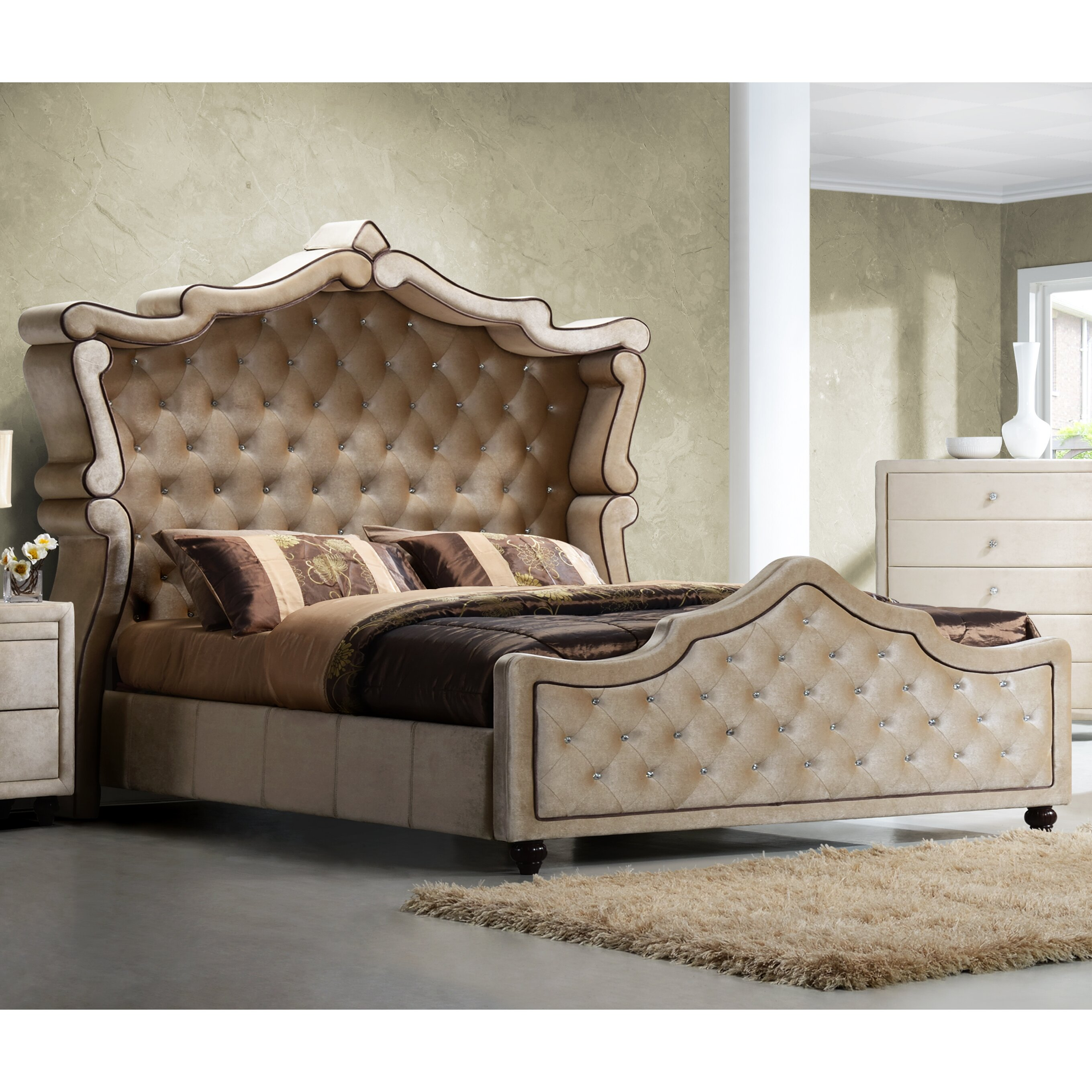 Meridian Bedroom Furniture Meridian Furniture Usa Diamond Upholstered Panel Bed Reviews