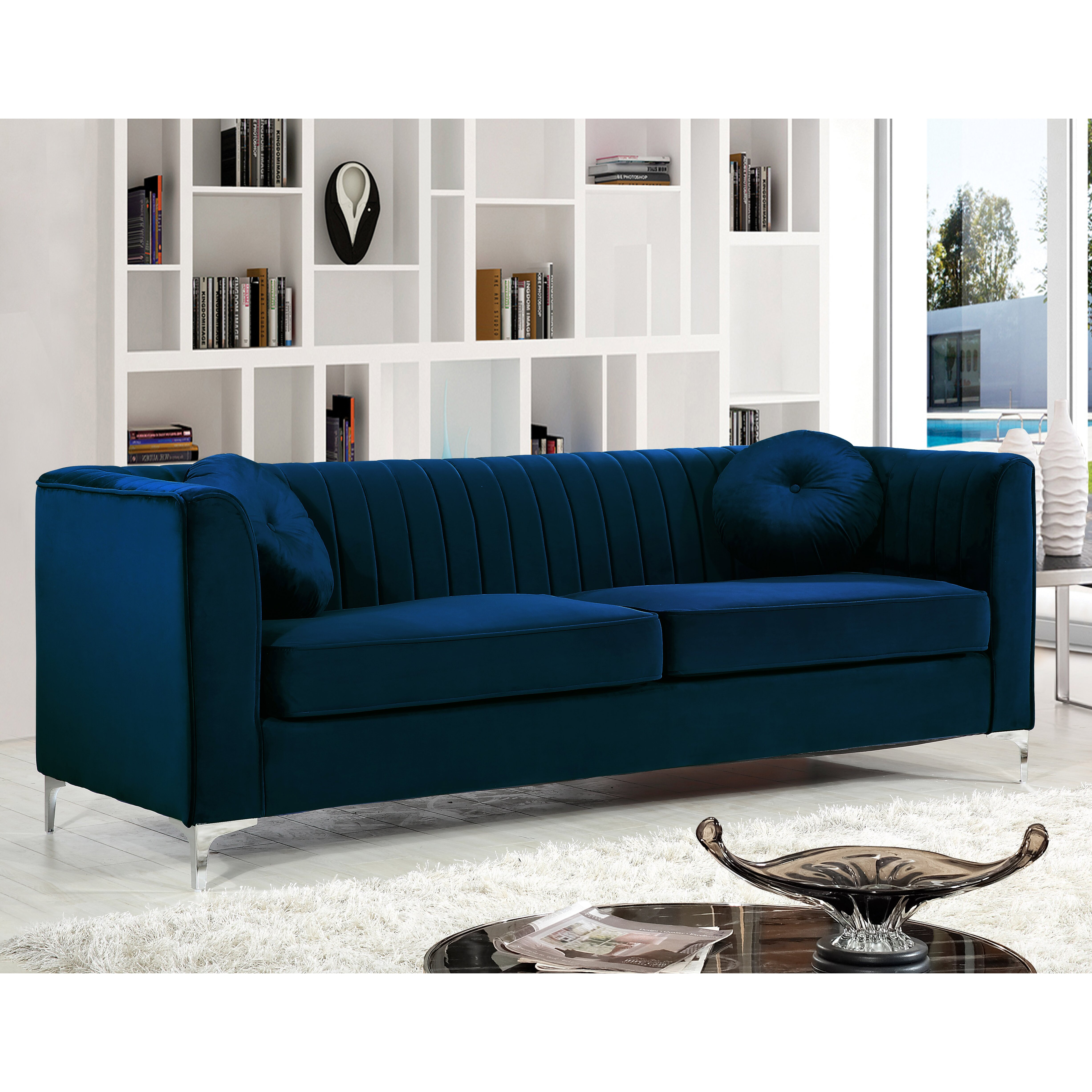 Everly quinn glenwood living room collection reviews for Blue white sofa