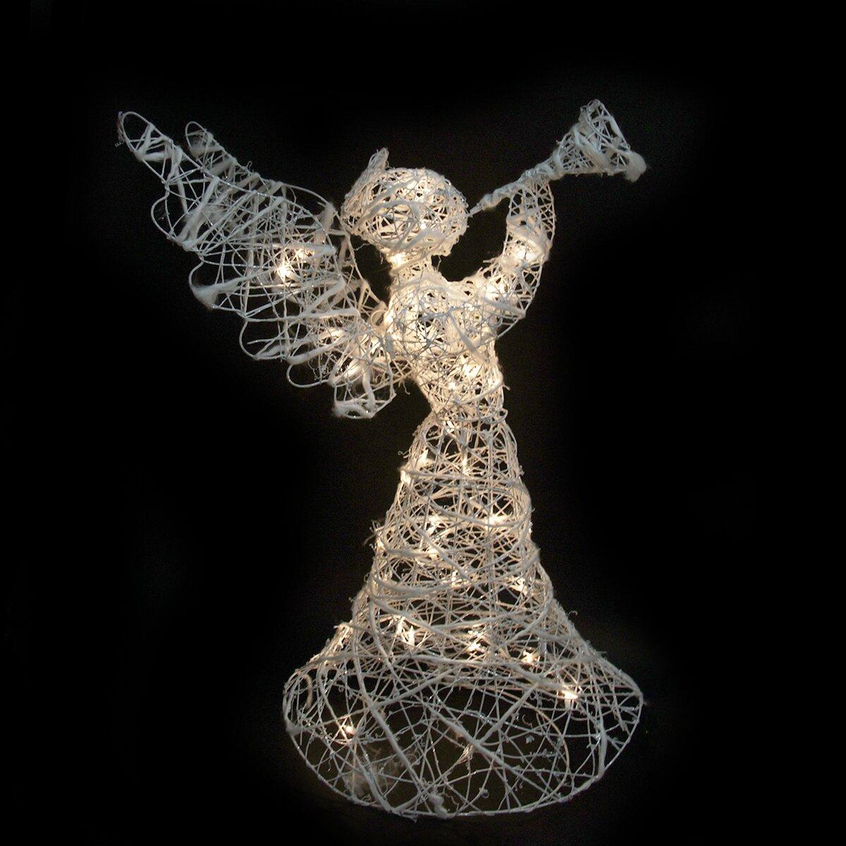 Northlight rattan trumpeting angel christmas decoration for Angel of the north christmas decoration