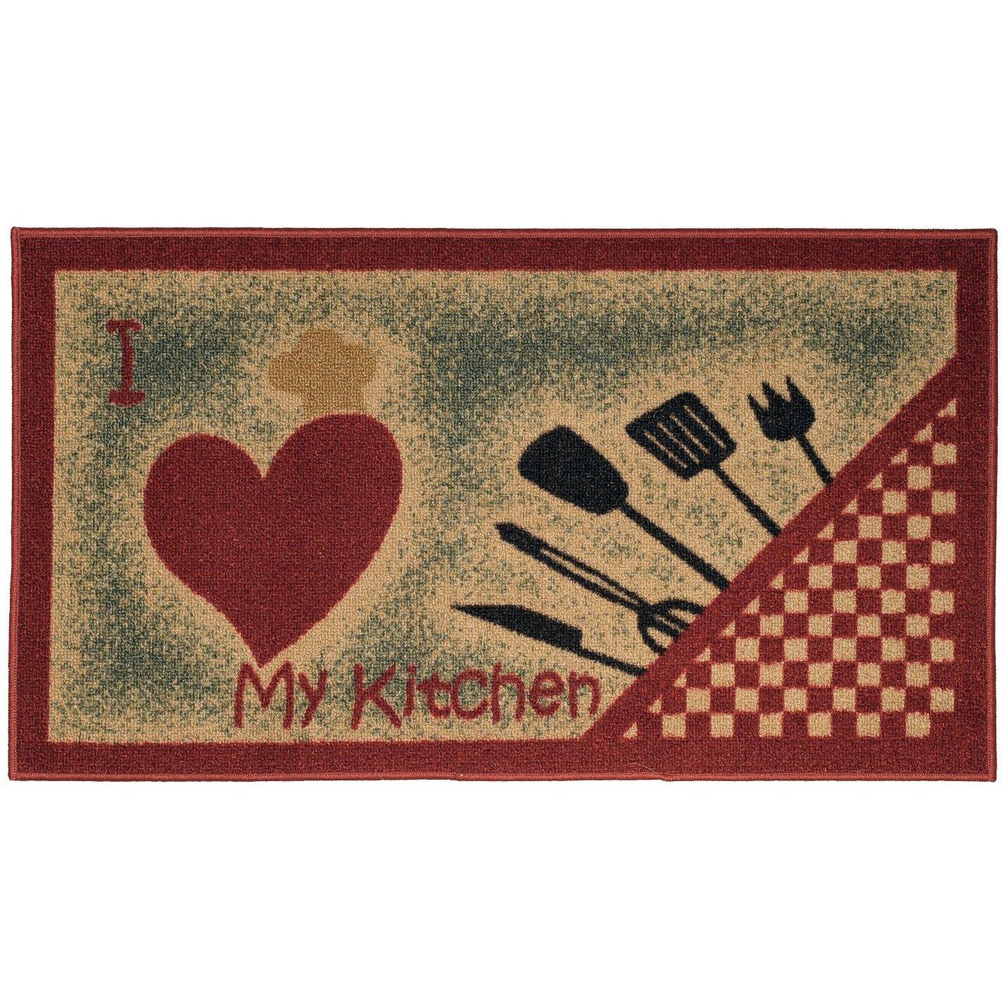 Red Kitchen Accessories Rugnur Cucina I Love My Kitchen And Utensils Cream Red Kitchen