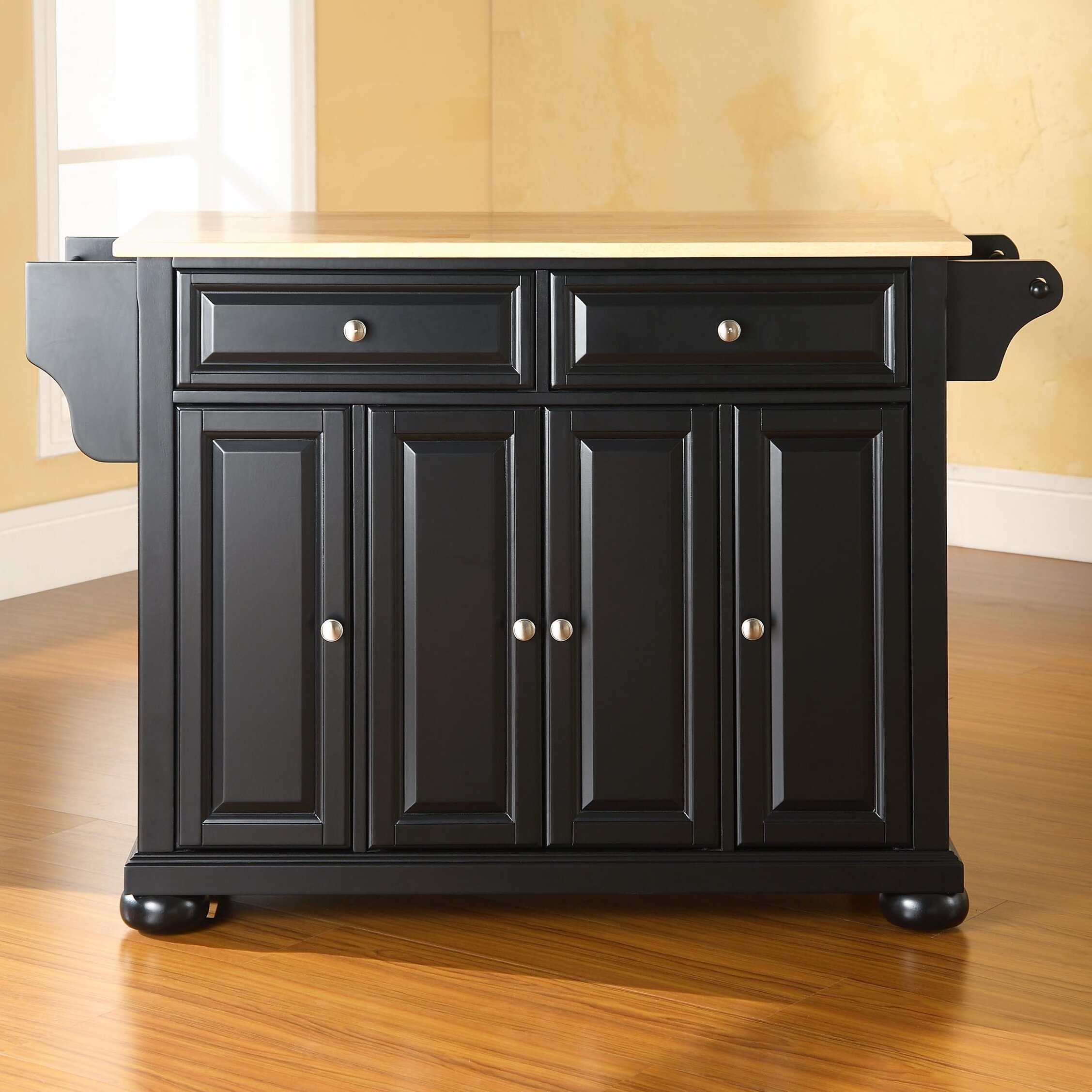 darby home co pottstown kitchen island with wood top & reviews
