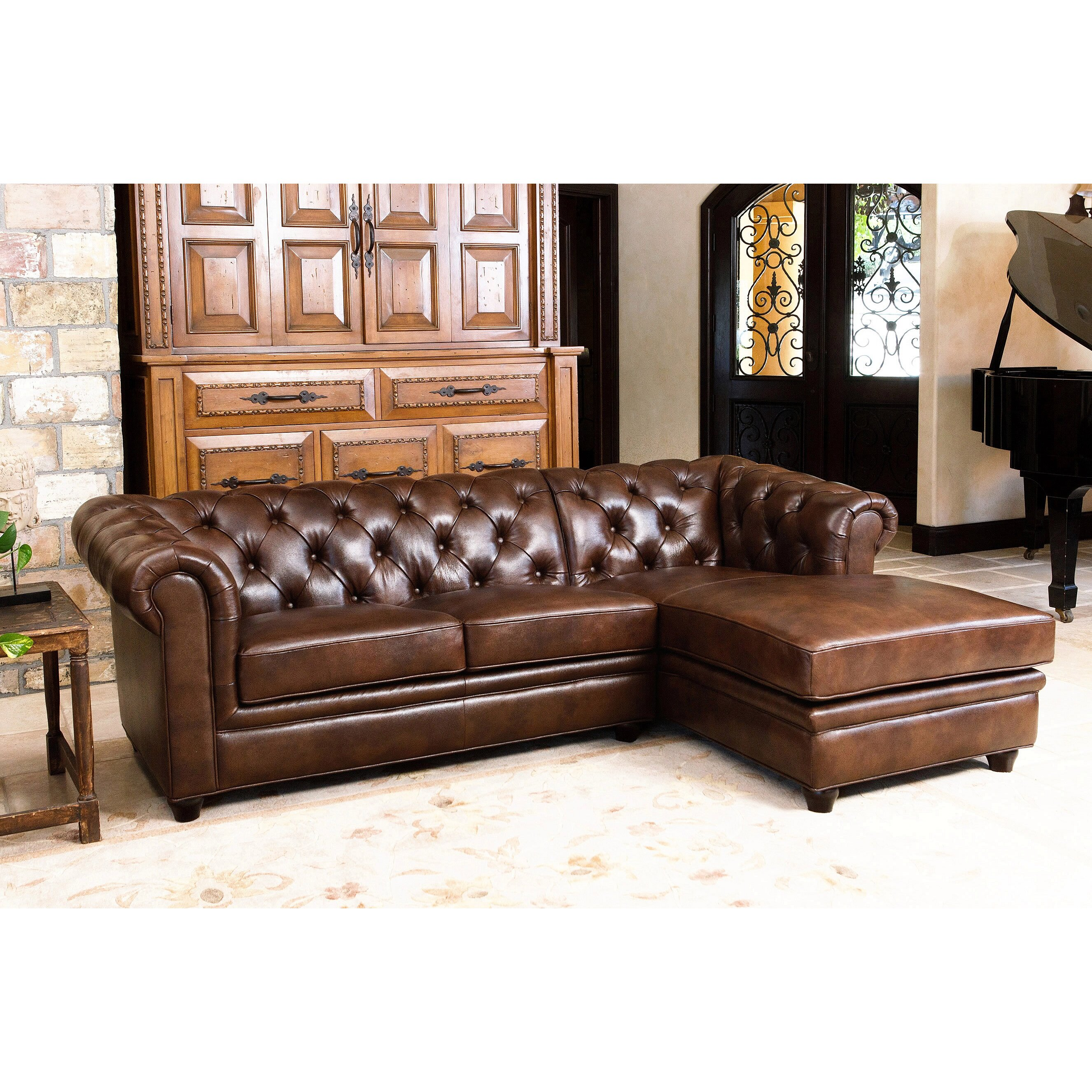 darby home co lapointe leather chaise sectional reviews wayfair. Black Bedroom Furniture Sets. Home Design Ideas