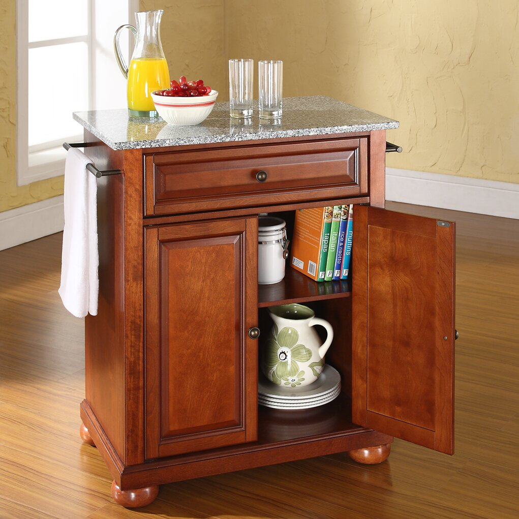 Granite Top Kitchen Cart Darby Home Co Pottstown Kitchen Cart With Granite Top Reviews