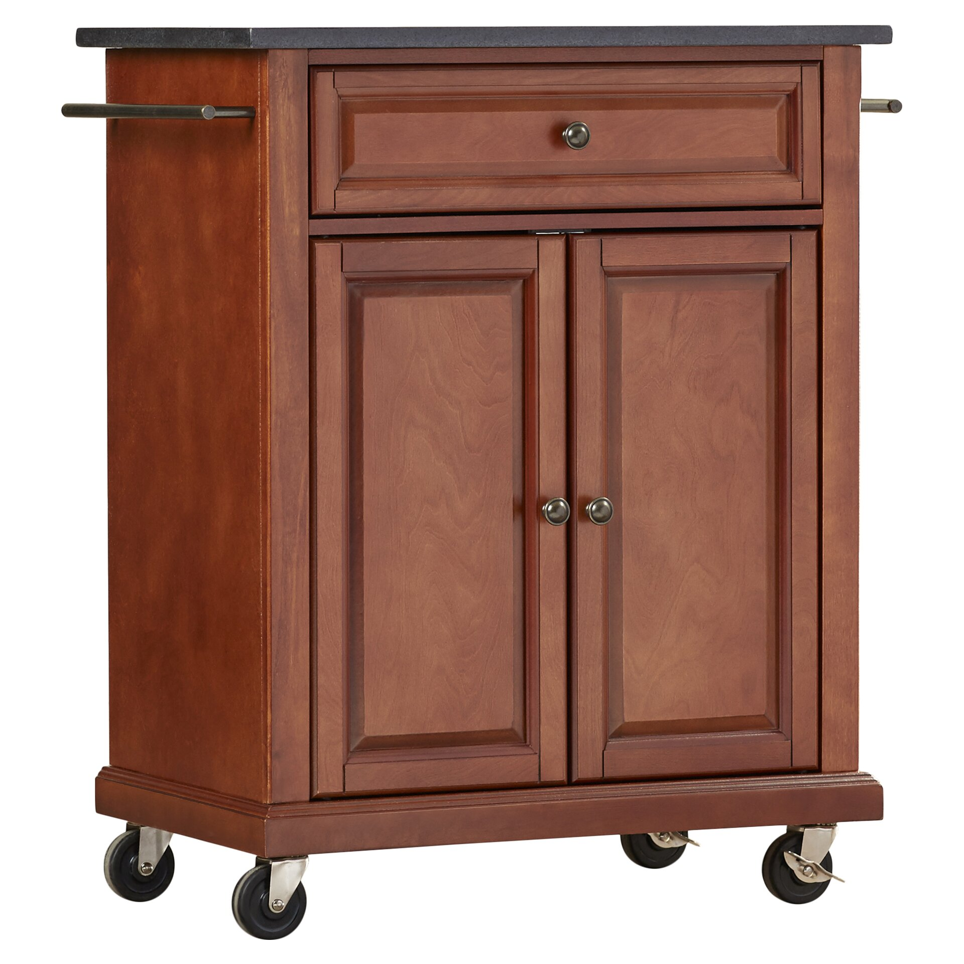 Portable Kitchen Island With Granite Top Darby Home Co Pottstown Solid Black Granite Top Portable Kitchen