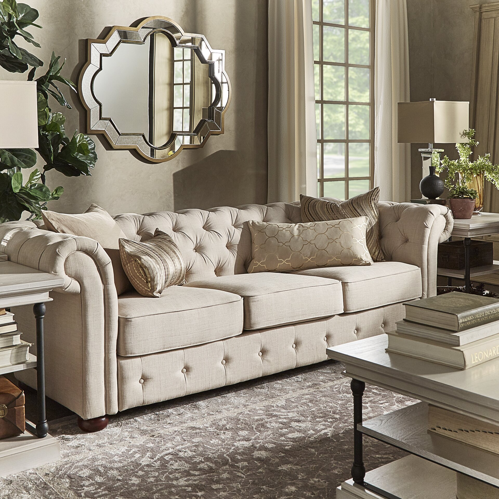 Tufted Living Room Furniture Darby Home Co Toulon Tufted Button Sofa Reviews Wayfair