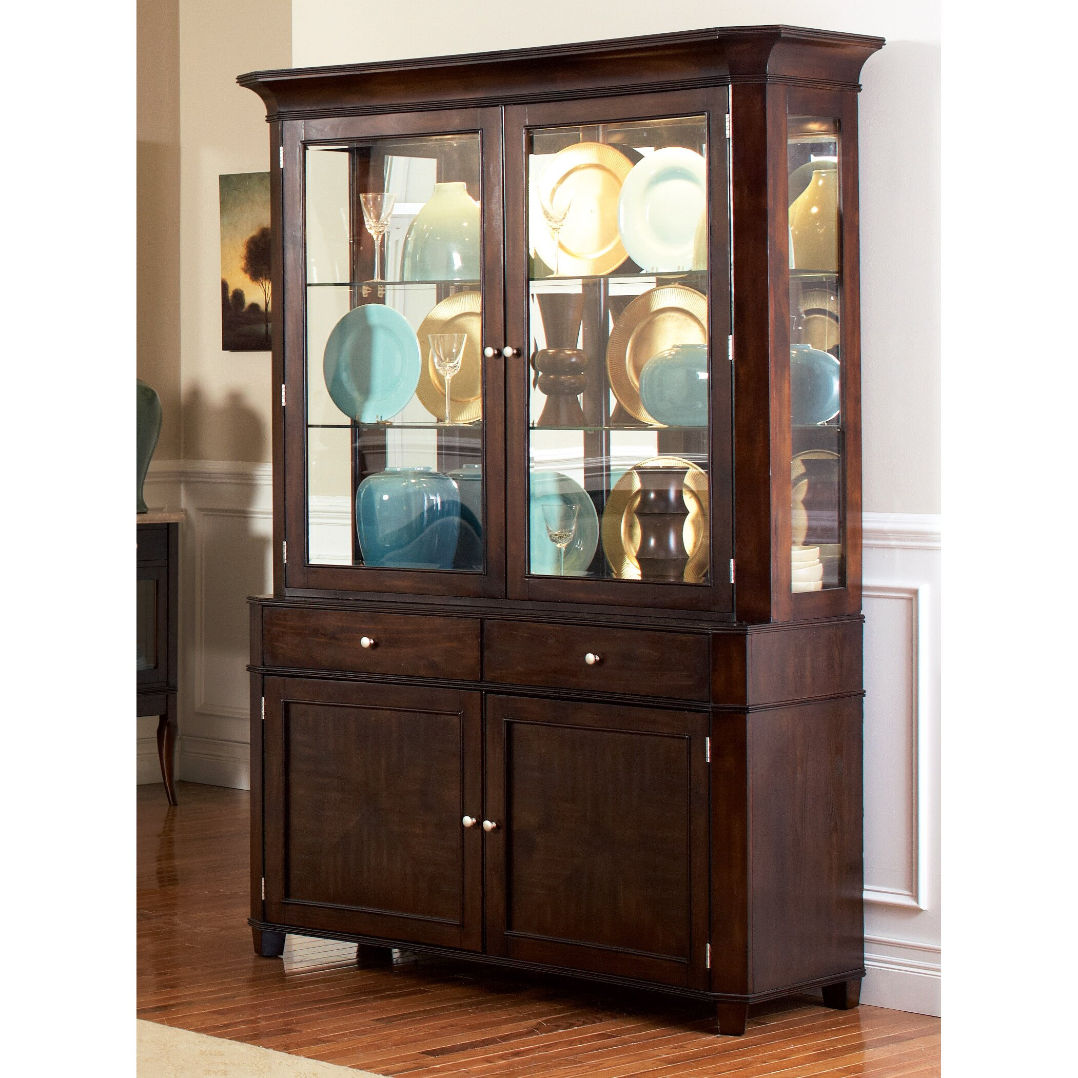 China Cabinet With Hutch Darby Home Co Swenson China Cabinet Hutch Reviews Wayfair