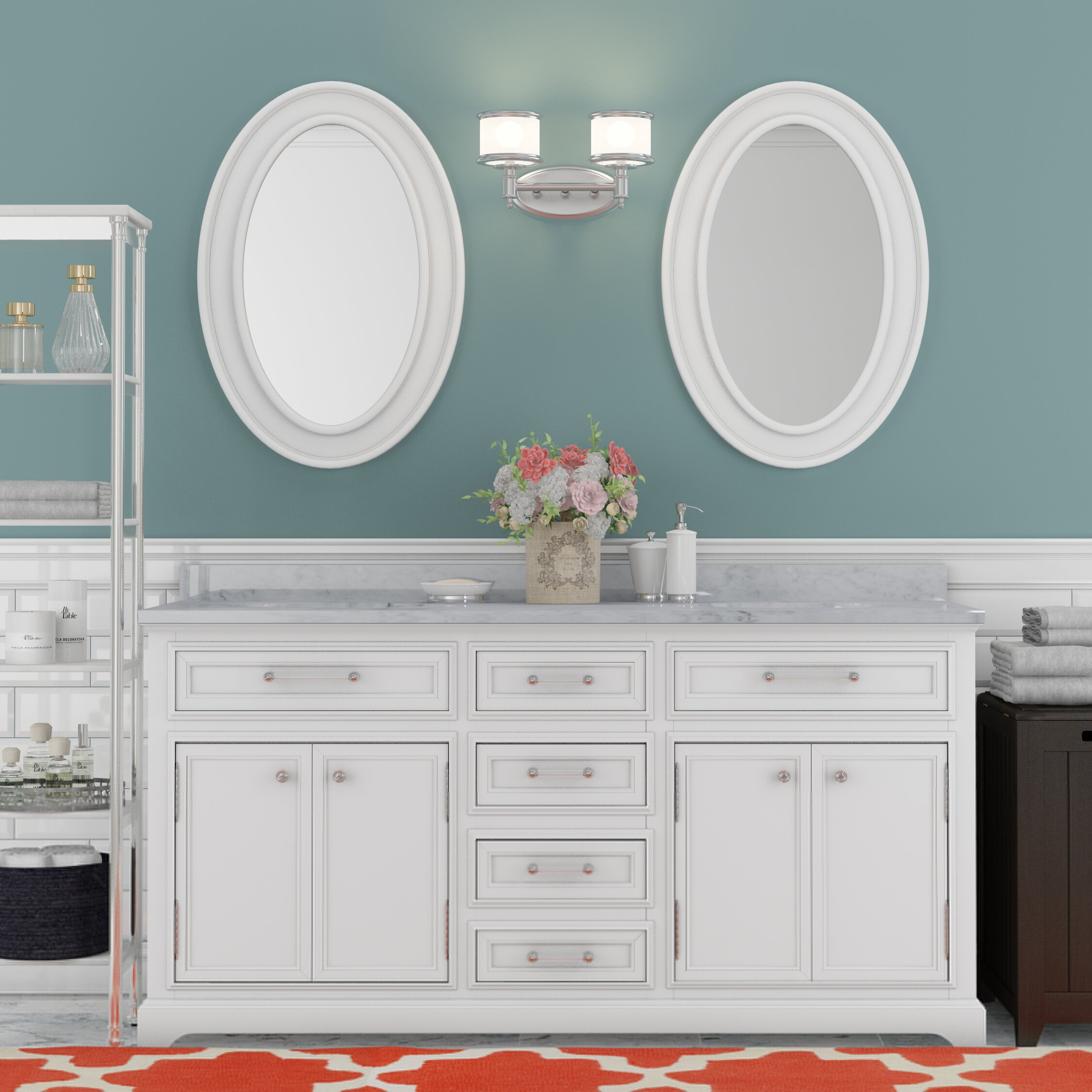 white double sink bathroom darby home coampreg colchester ampquot double sink bathroom vanity set with mirror white