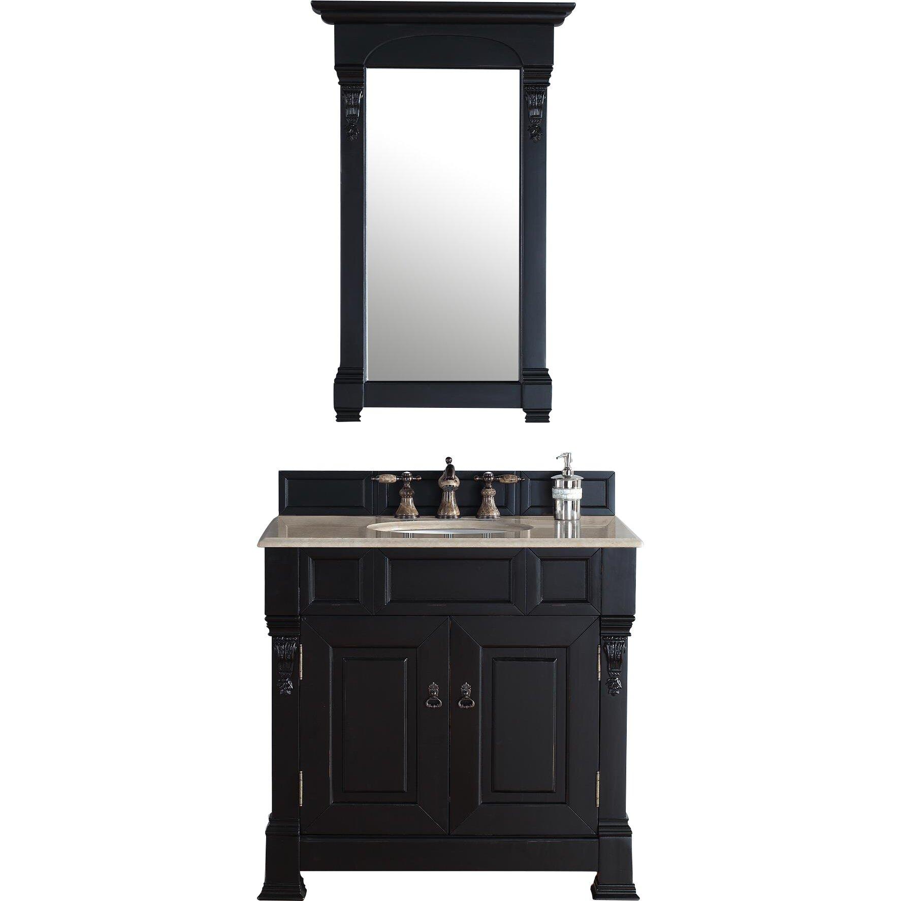 """Black Bathroom Vanity Set: Darby Home Co Bedrock 36"""" Single Antique Black Bathroom"""