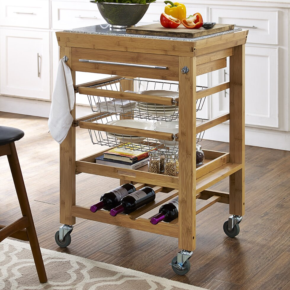 Granite Top Kitchen Cart Alcott Hill Barhill Kitchen Cart With Granite Top Reviews Wayfair