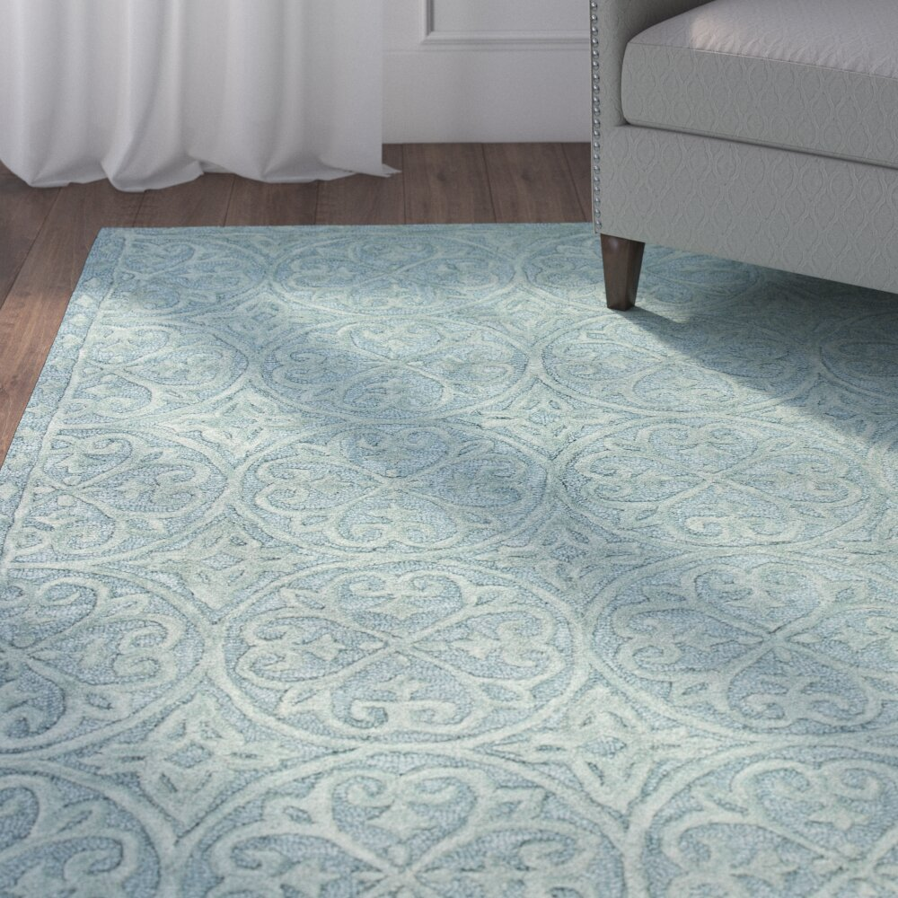 Teal Living Room Rug Alcott Hill Garrettsville Hand Tufted Teal Area Rug Reviews
