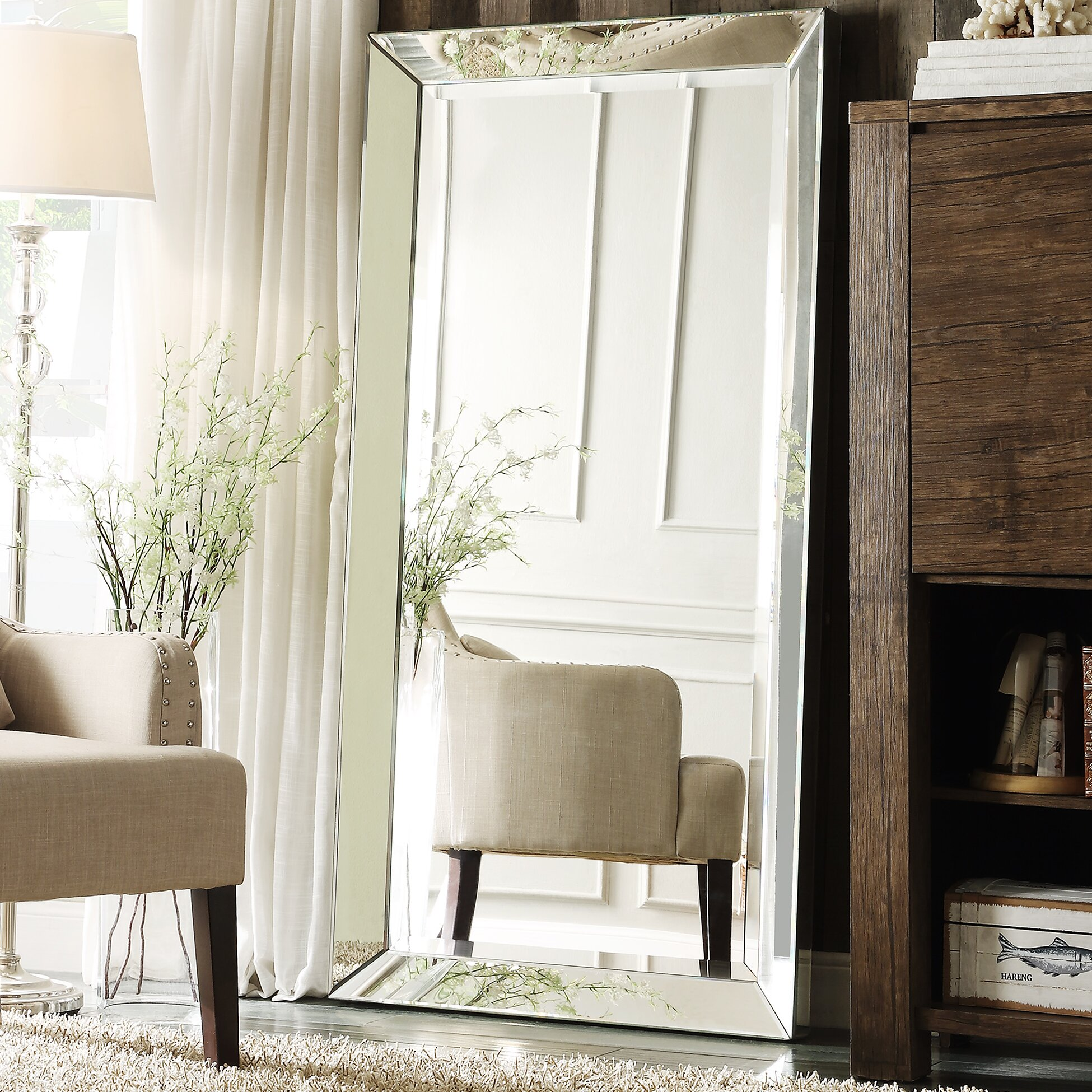 Alcott hill rectangle glass floor mirror reviews wayfair for Glass floor mirror