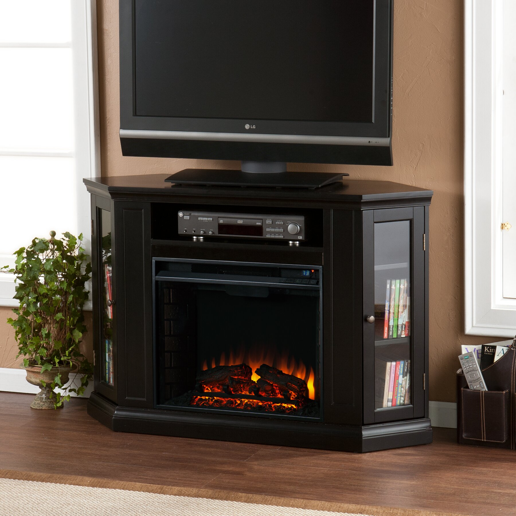 Alcott Hill Dunminning Corner Tv Stand With Electric Fireplace Reviews Wayfair