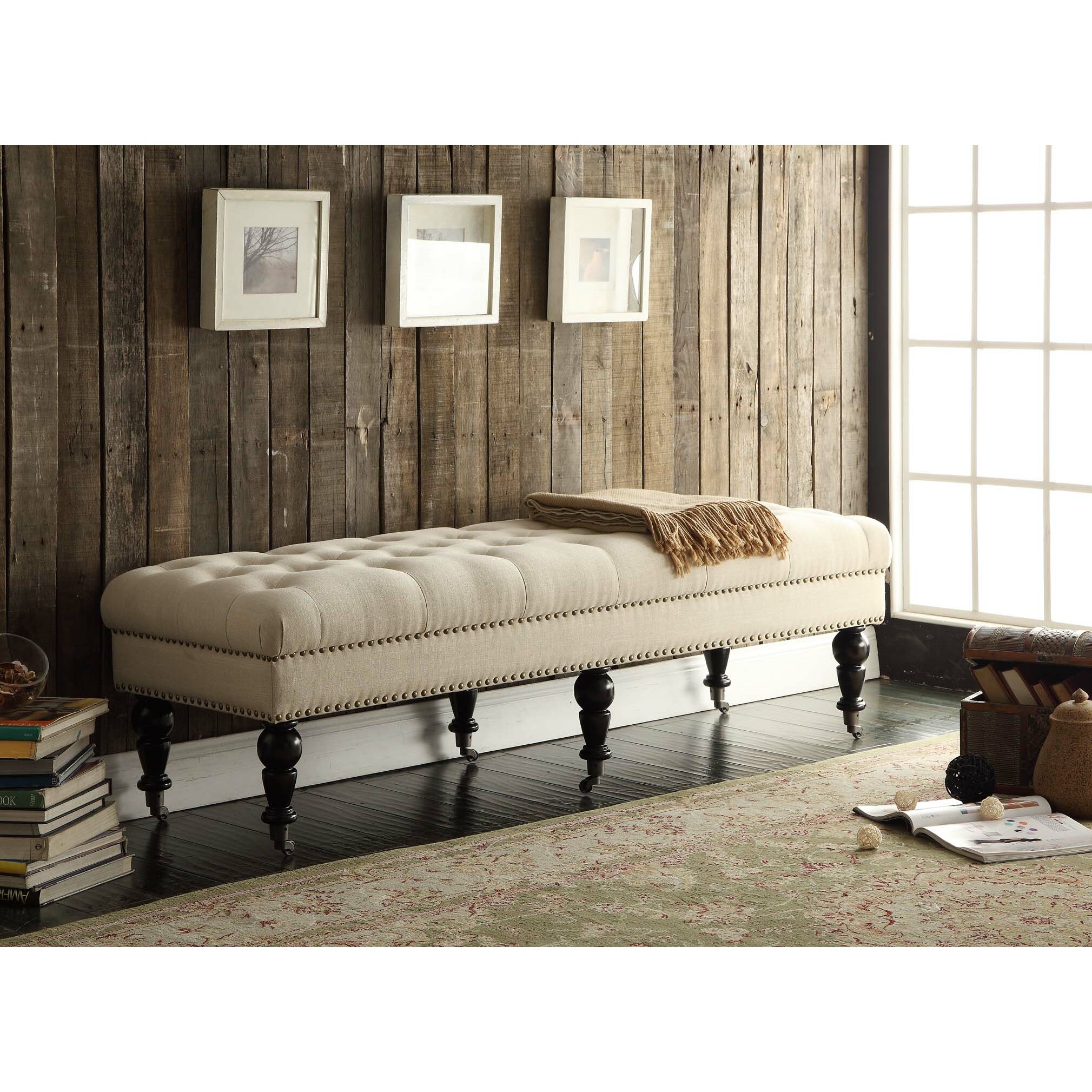 Padded Benches Living Room Charlton Home Driffield Upholstered Bedroom Bench Reviews Wayfair