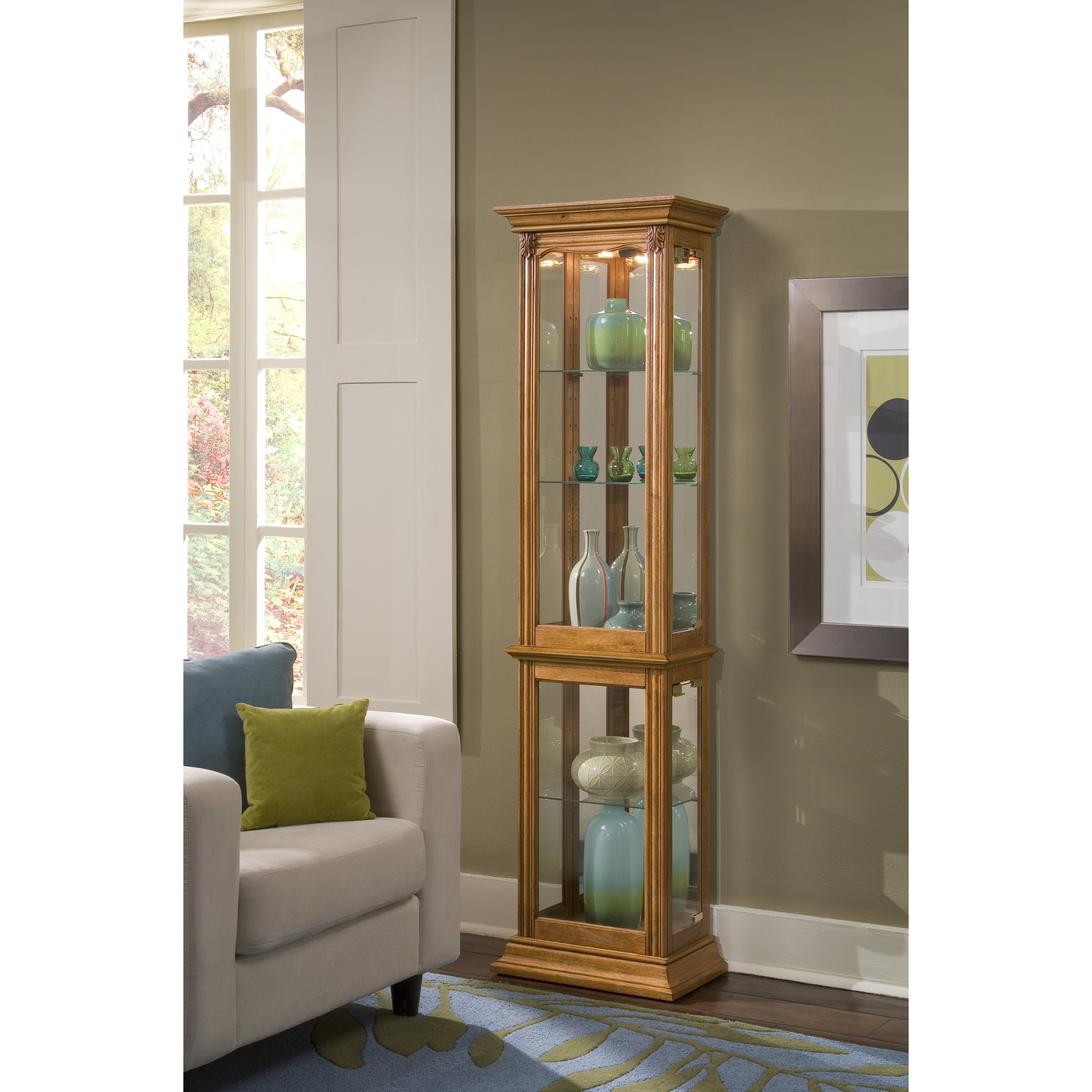 Glass Curio Cabinets With Lights Charlton Home Maywood Curio Cabinet Reviews Wayfair