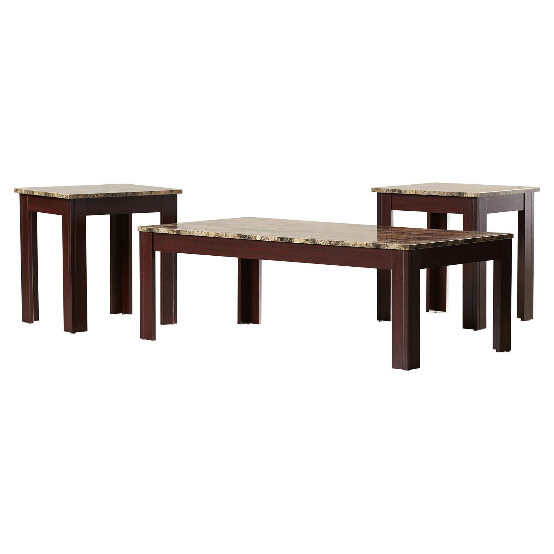 Coffee Table Set Of 3 Charlton Home Colmer 3 Piece Coffee Table Set In Brown Reviews