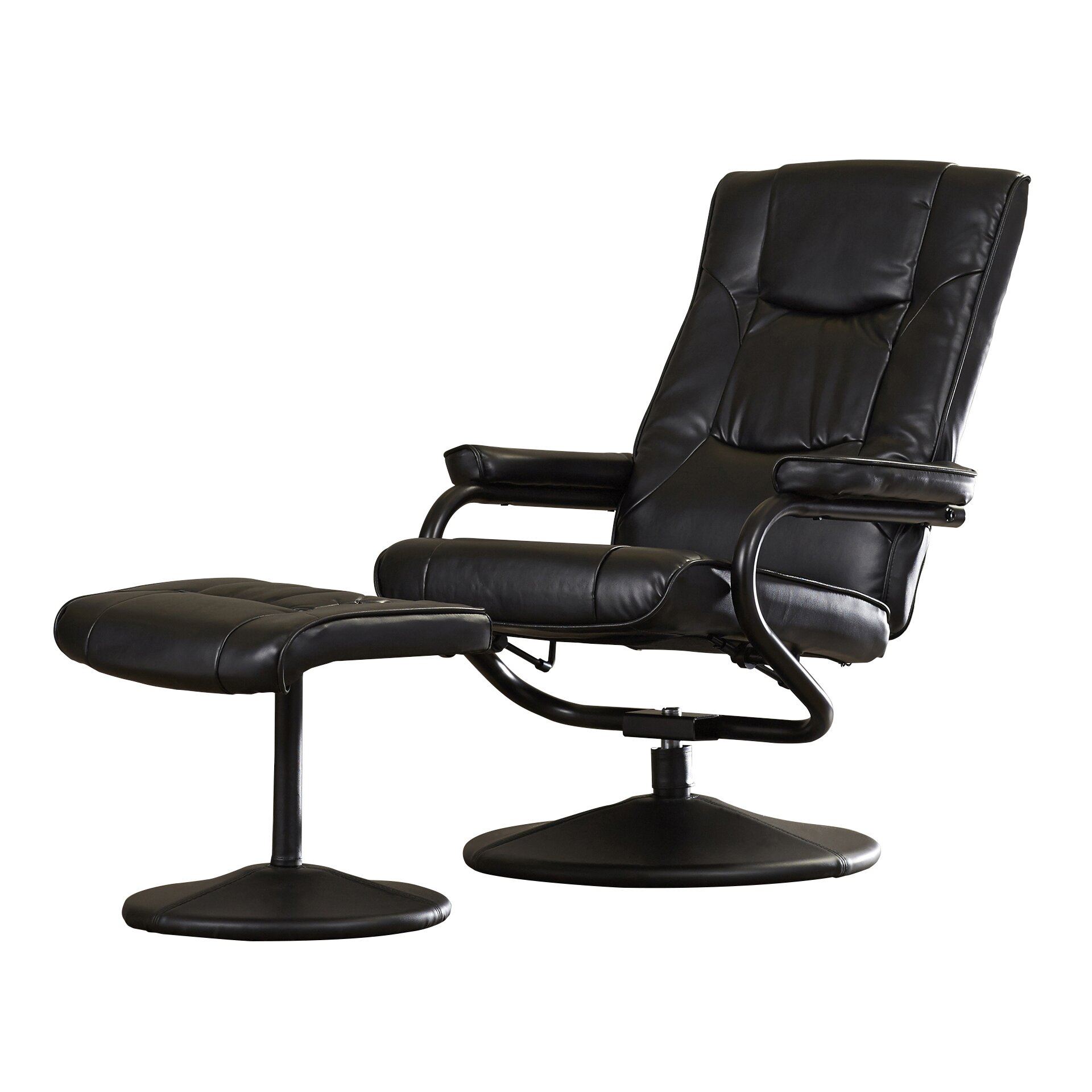 Charlton Home Soft Leather Reclining Office Chair and Ottoman Set – Recline Office Chair
