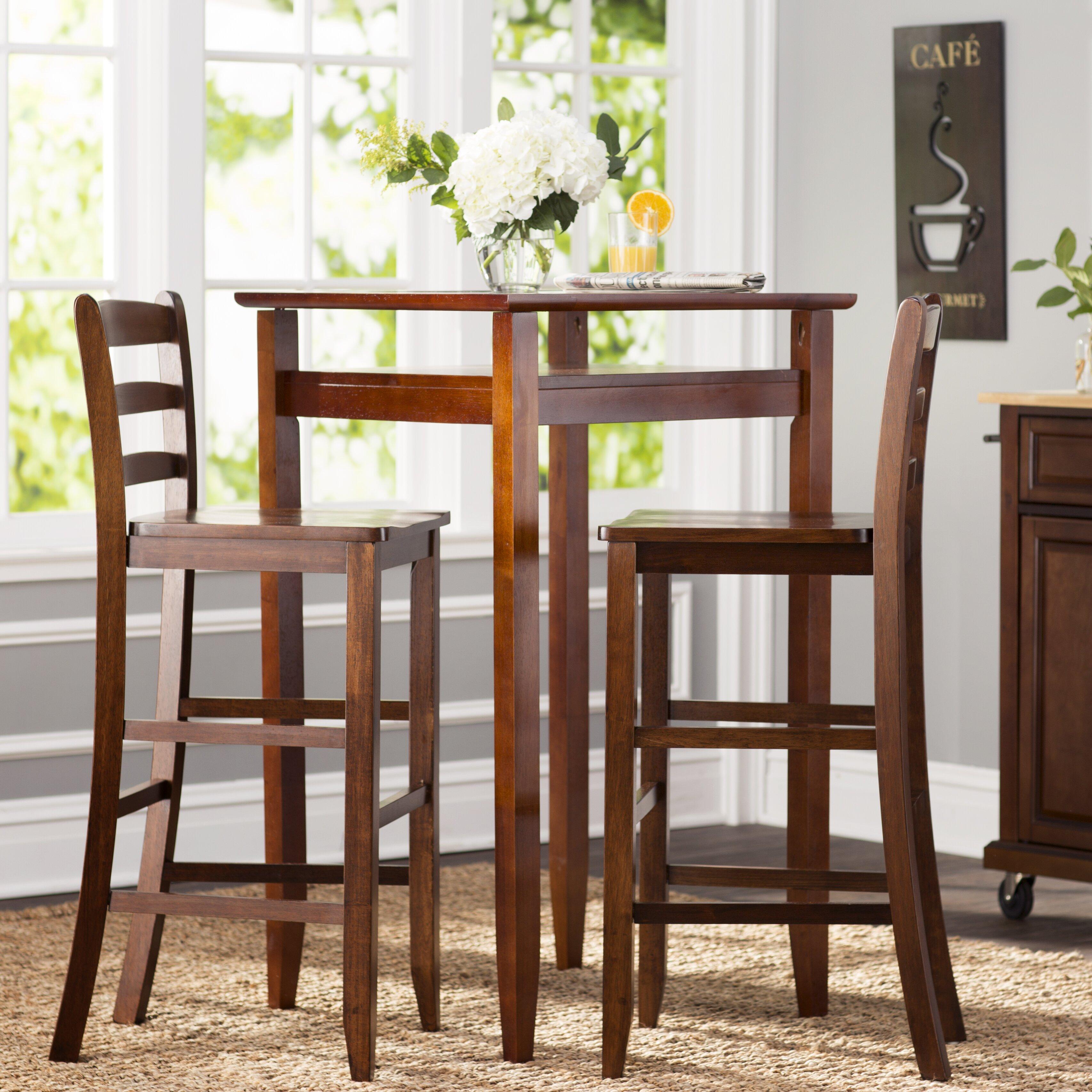 Kitchen Pub Table Sets Charlton Home Halo 3 Piece Pub Table Set Reviews Wayfair