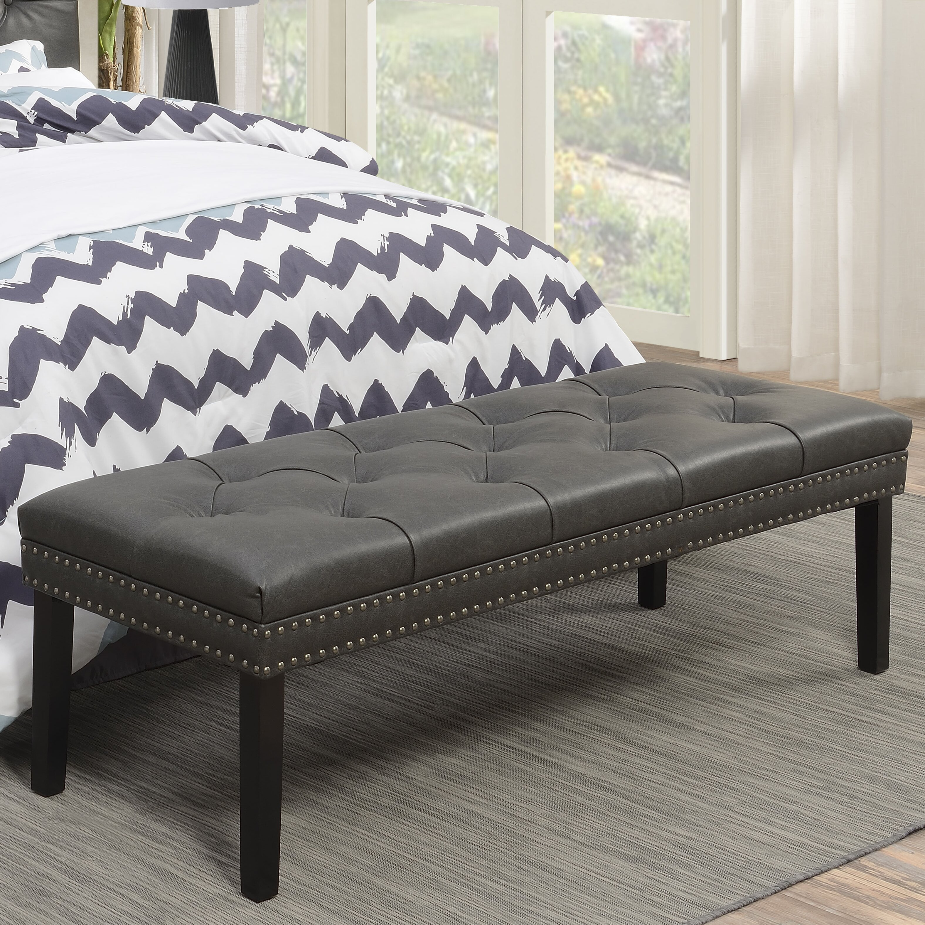 Leather Bedroom Bench Charlton Home Roxie Upholstered Leather Bedroom Bench Reviews