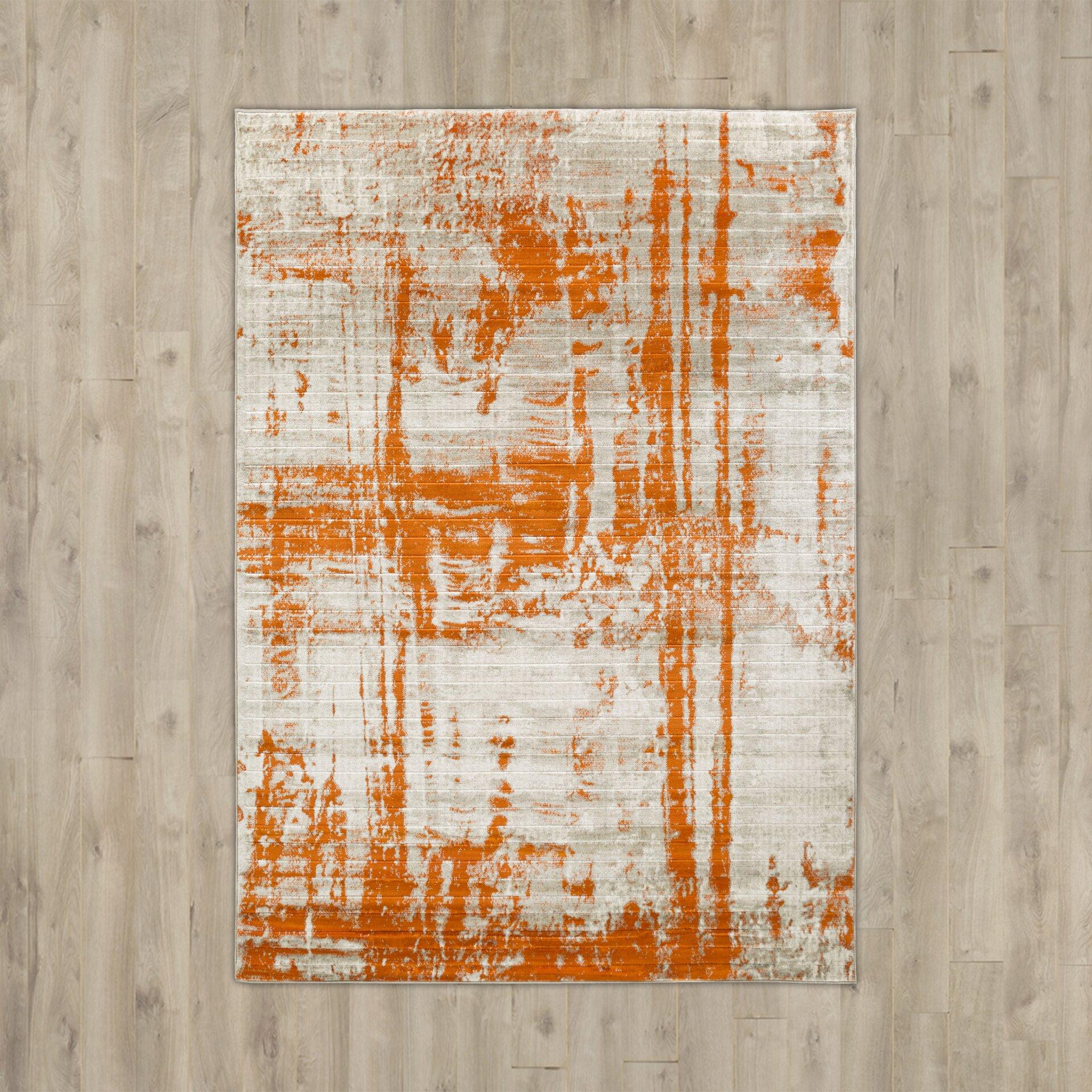Varick Gallery Ferrin Light Gray/Burnt Orange Area Rug