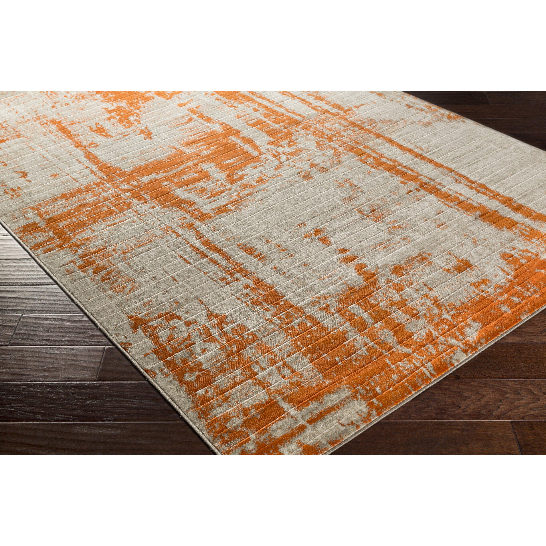 Varick Gallery Ferrin Light Gray Burnt Orange Area Rug