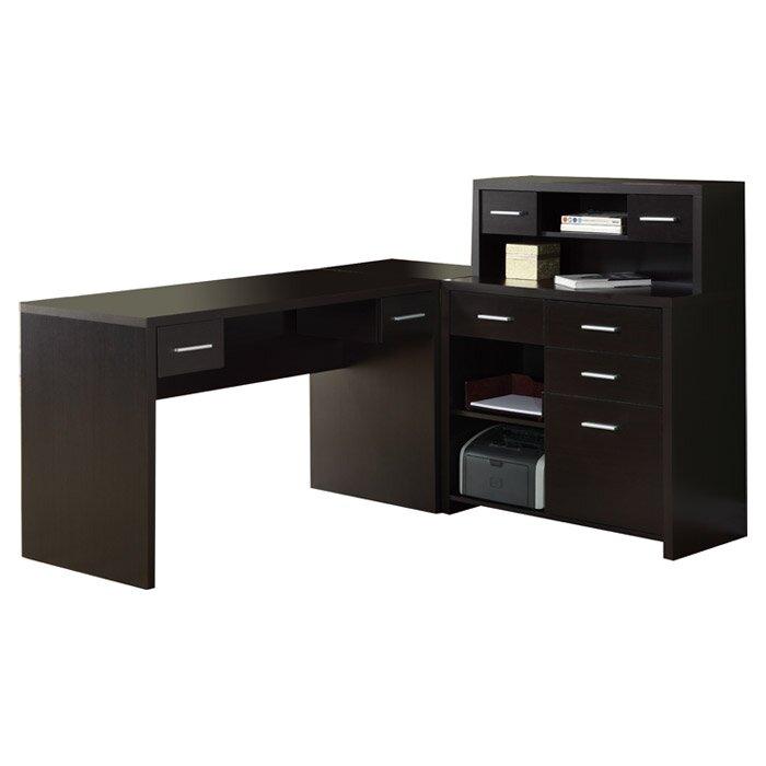 brayden studio covey home office l shaped computer desk with hutch reviews wayfair. Black Bedroom Furniture Sets. Home Design Ideas