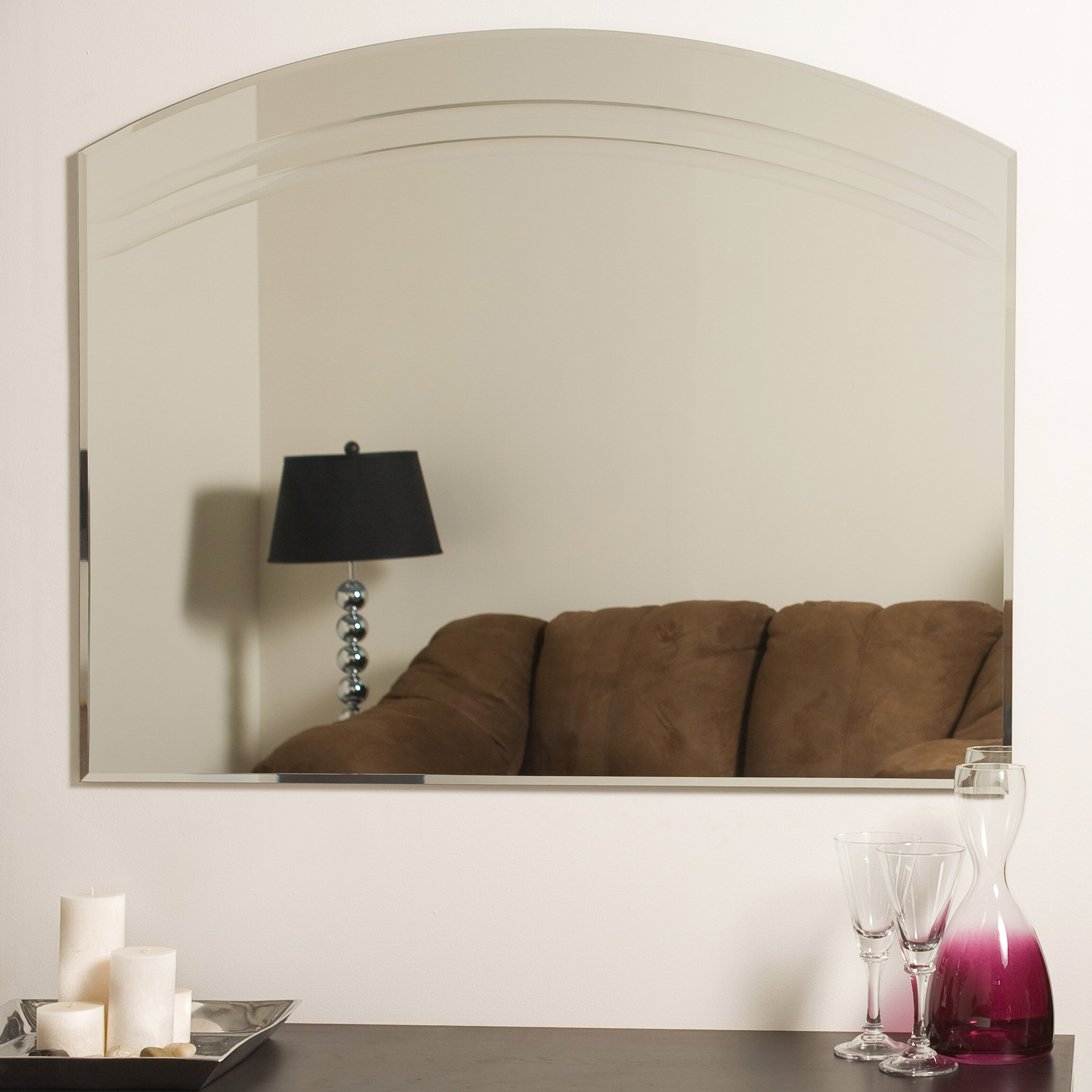 Wade Logan Large Frameless Wall Mirror Amp Reviews Wayfair