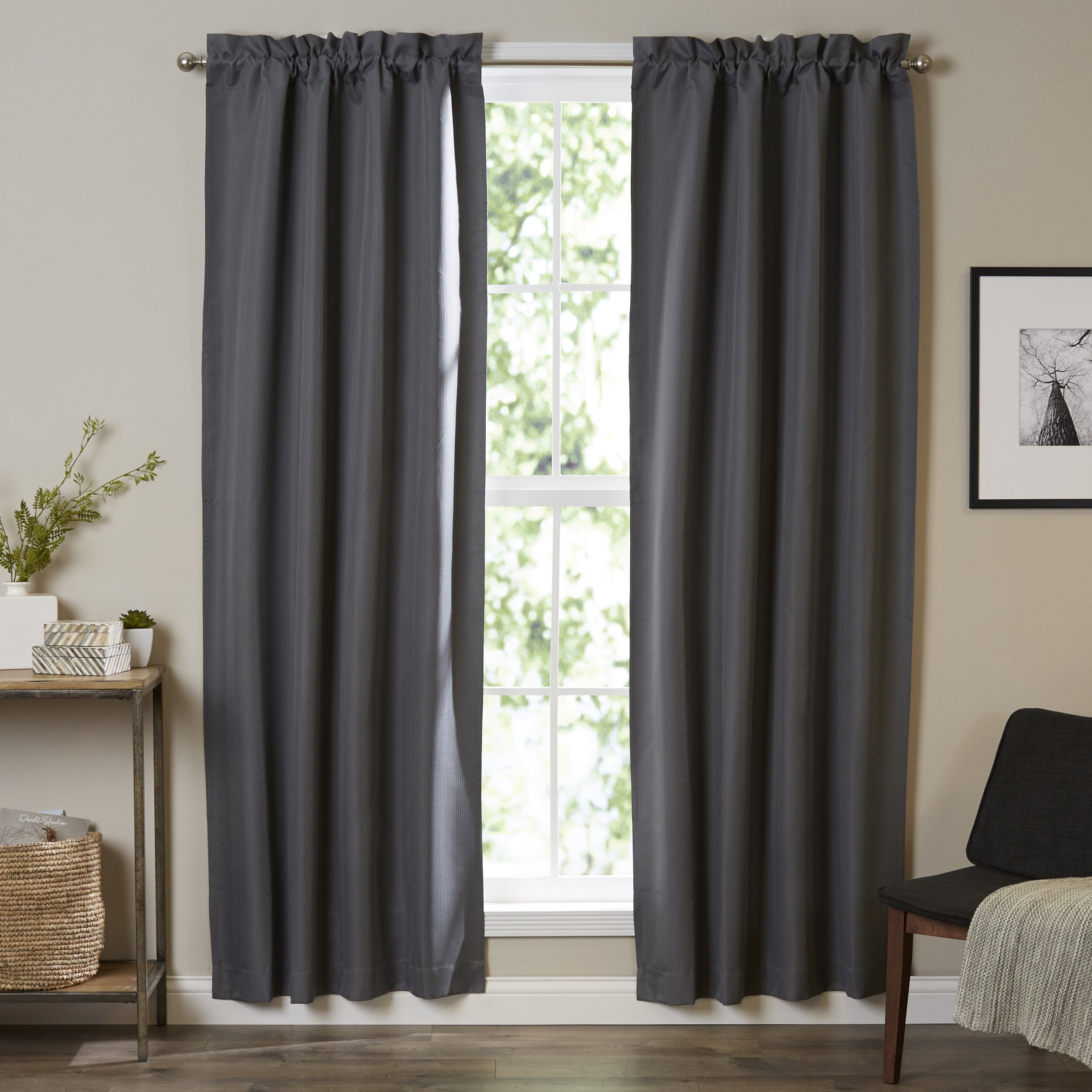 Navy blue bedroom curtains - Roger Blackout Thermal Single Rod Pocket Curtain Panel