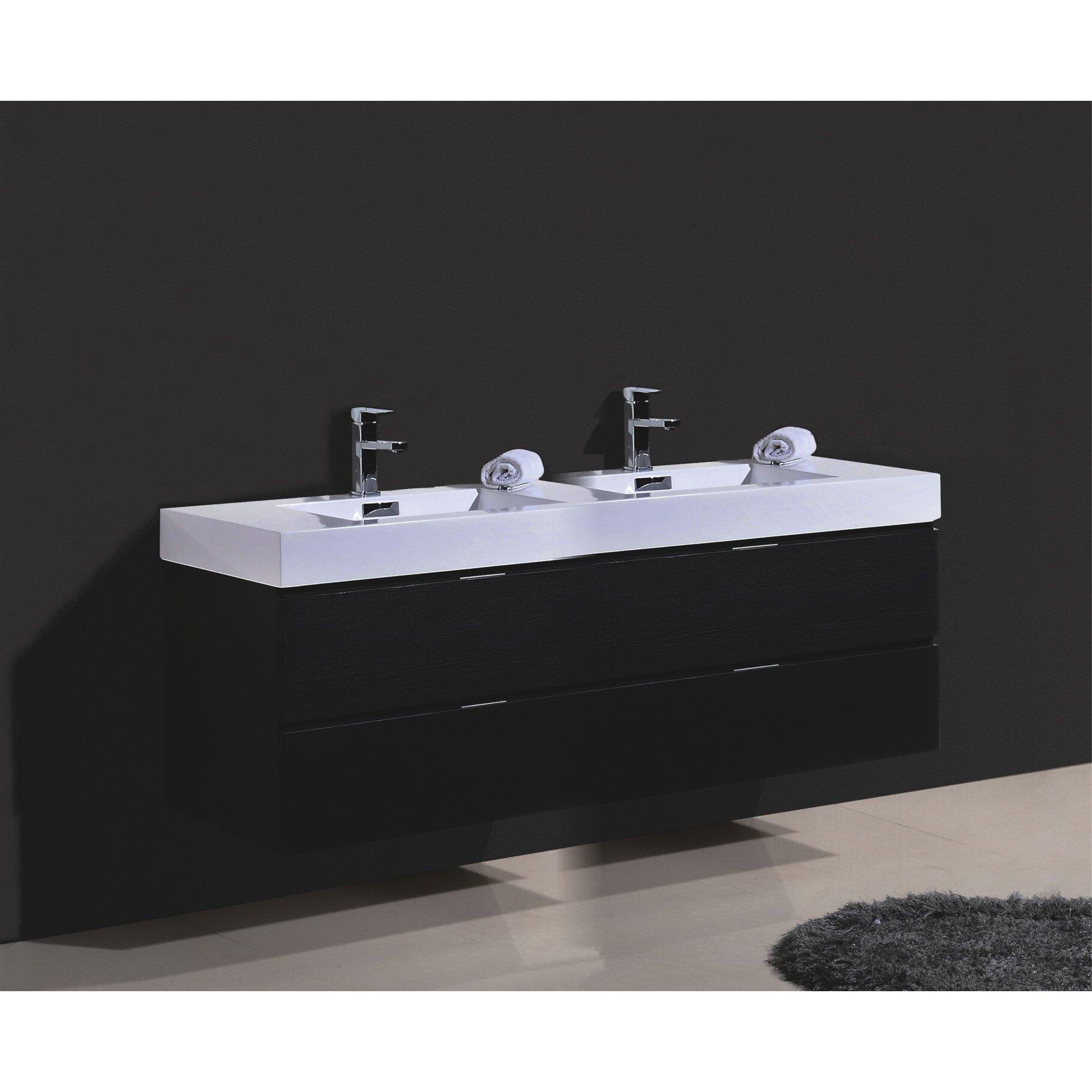 Modern Bathroom Vanity Wade Logan Tenafly Wood 80 Double Modern Bathroom Vanity Set