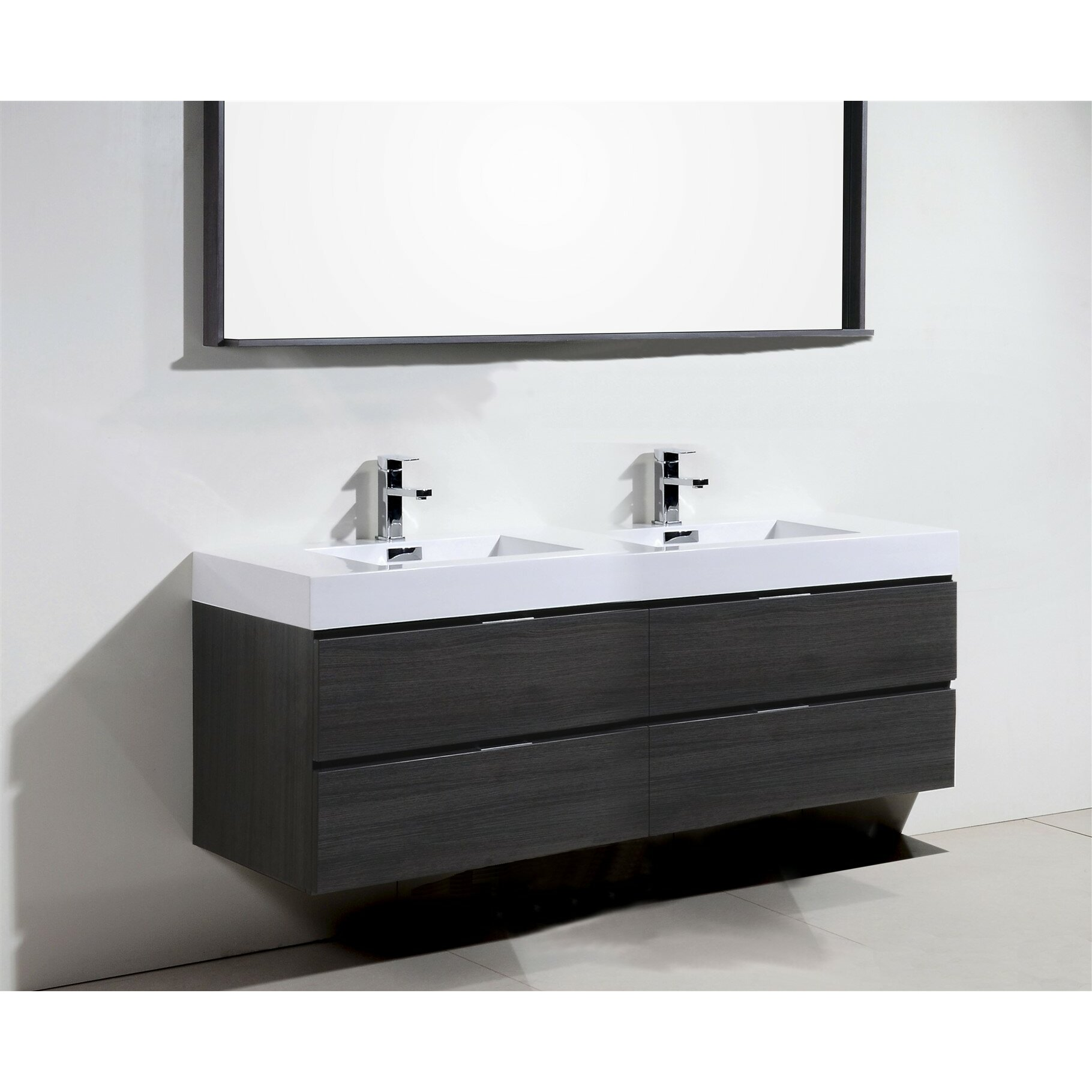 Modern bathroom cabinet - Wade Logan Reg Tenafly Wall Mount 72 Quot Double Modern Bathroom Vanity Set
